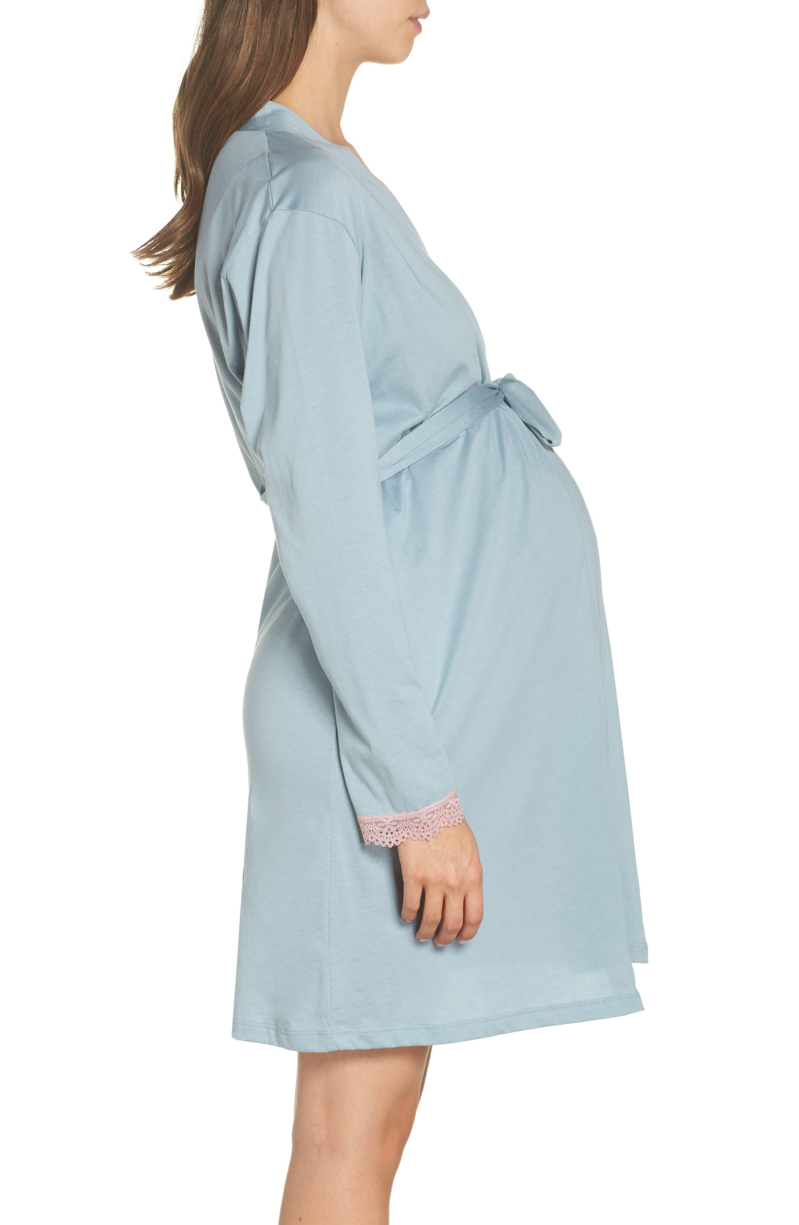Maternity/Nursing Robe,                             Alternate thumbnail 3, color,                             ROBINS EGG BLUE