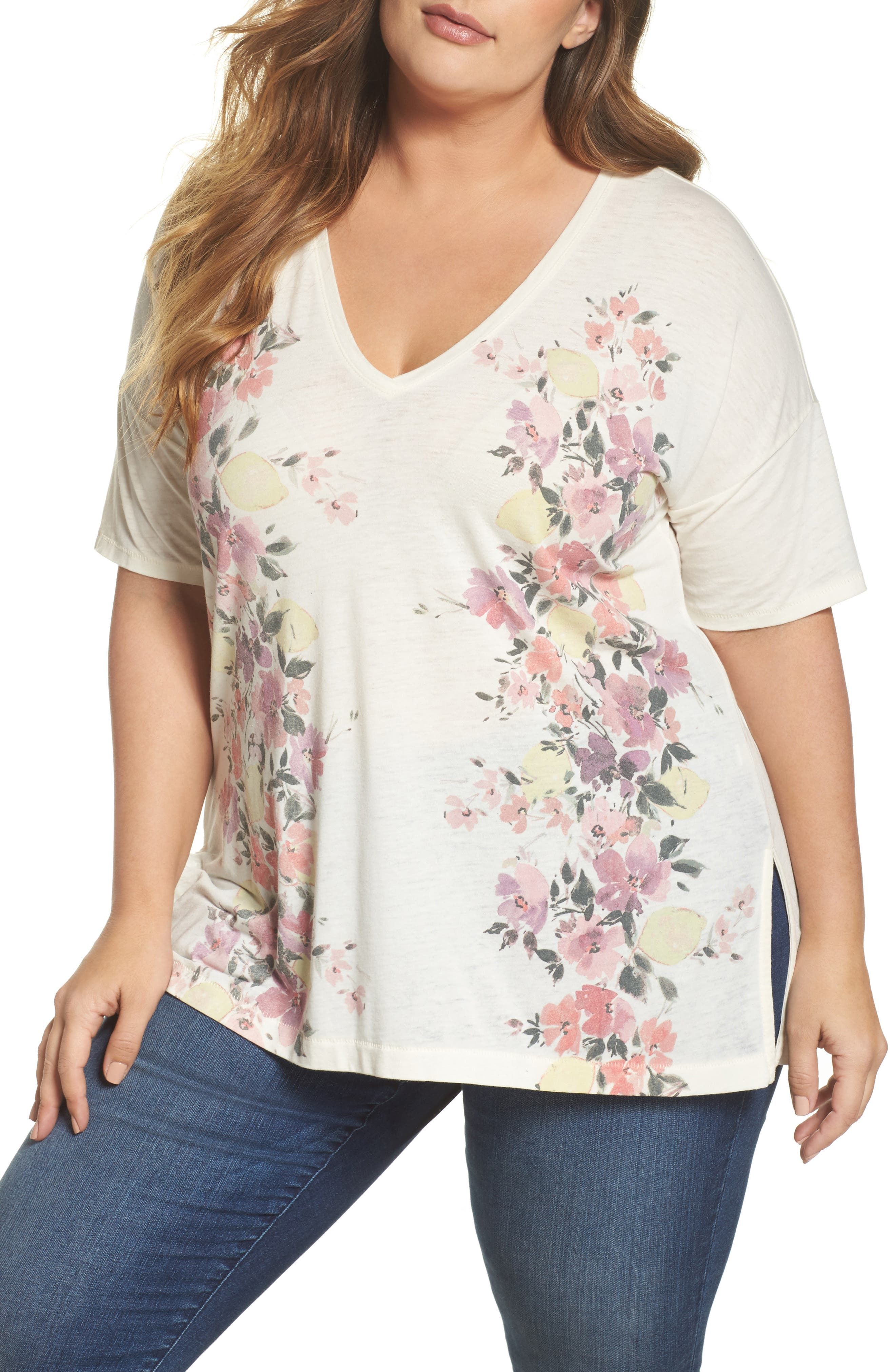 V-Neck Floral Tee,                             Main thumbnail 1, color,