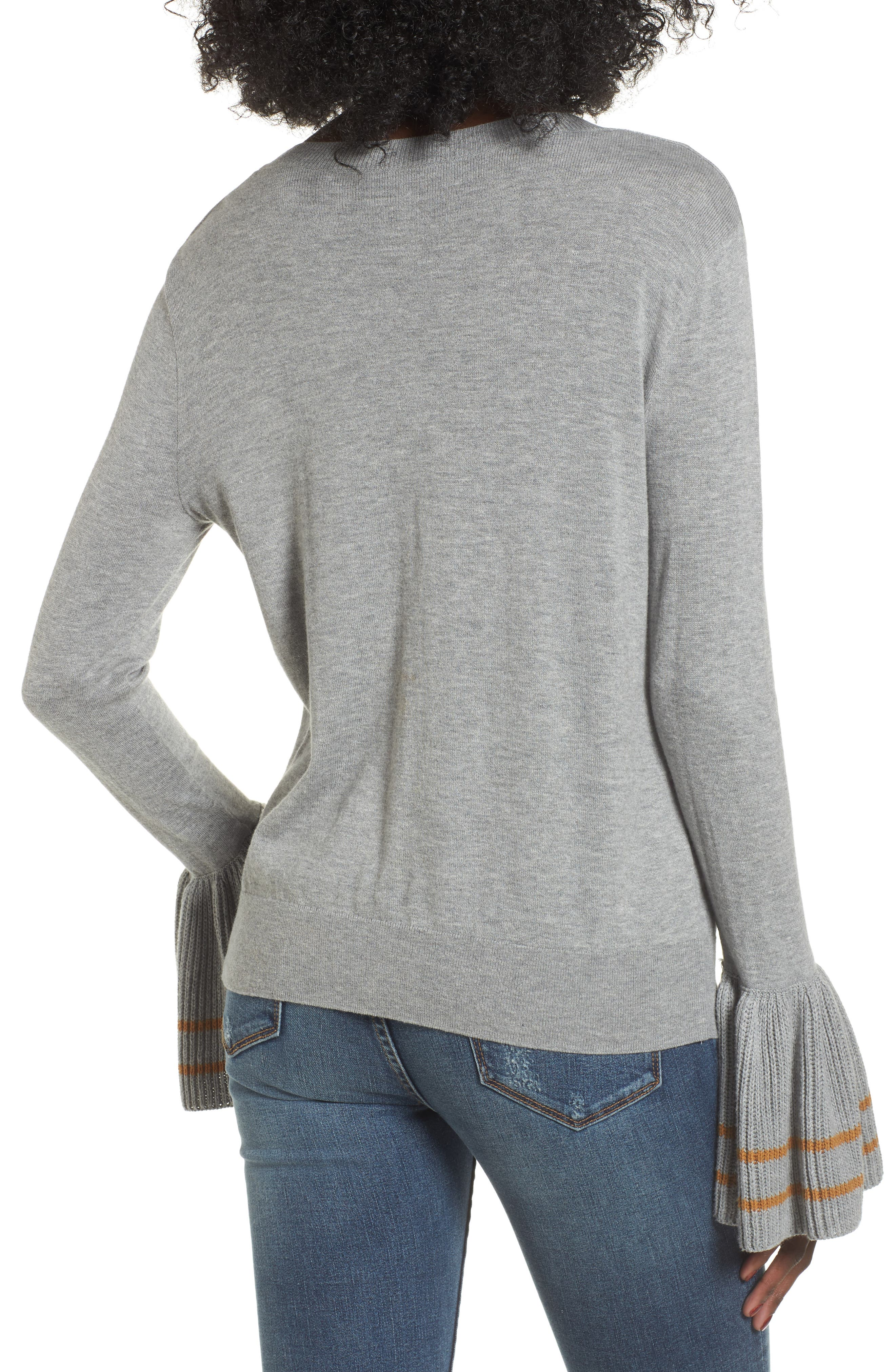 Ruffle Bell Cuff Sweater,                             Alternate thumbnail 2, color,                             030