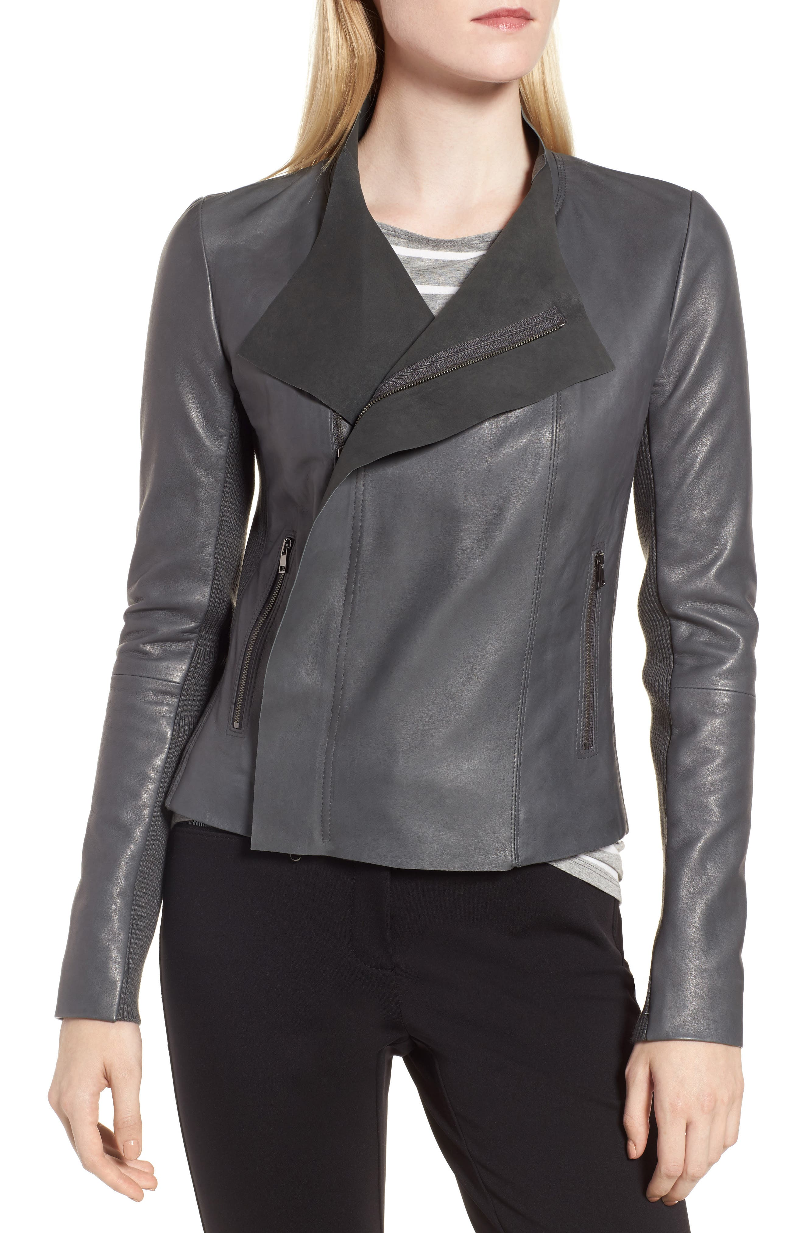 Cascade Front Leather Jacket,                             Alternate thumbnail 4, color,                             021