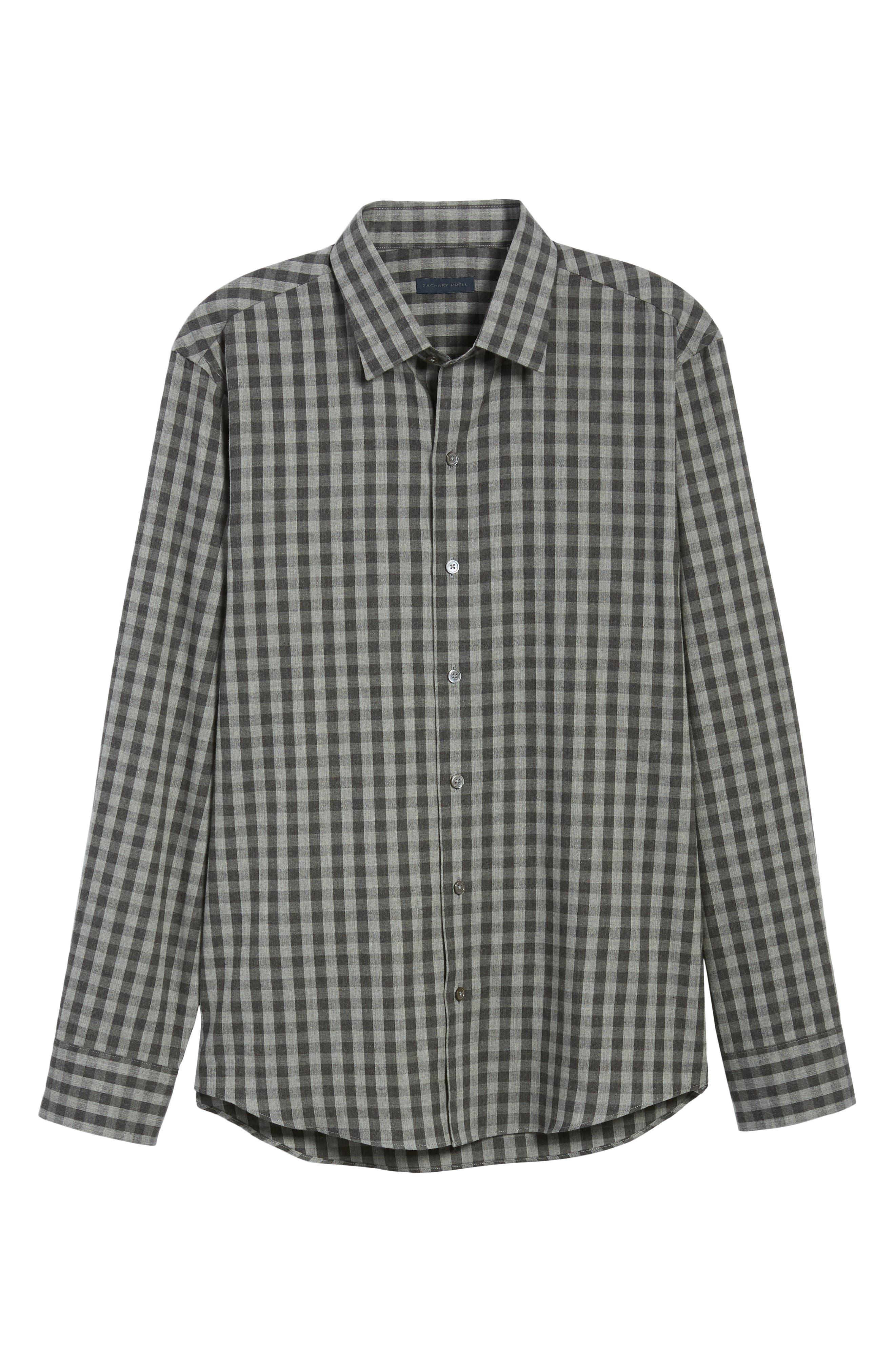 Lieberman Regular Fit Check Sport Shirt,                             Alternate thumbnail 5, color,                             CHARCOAL