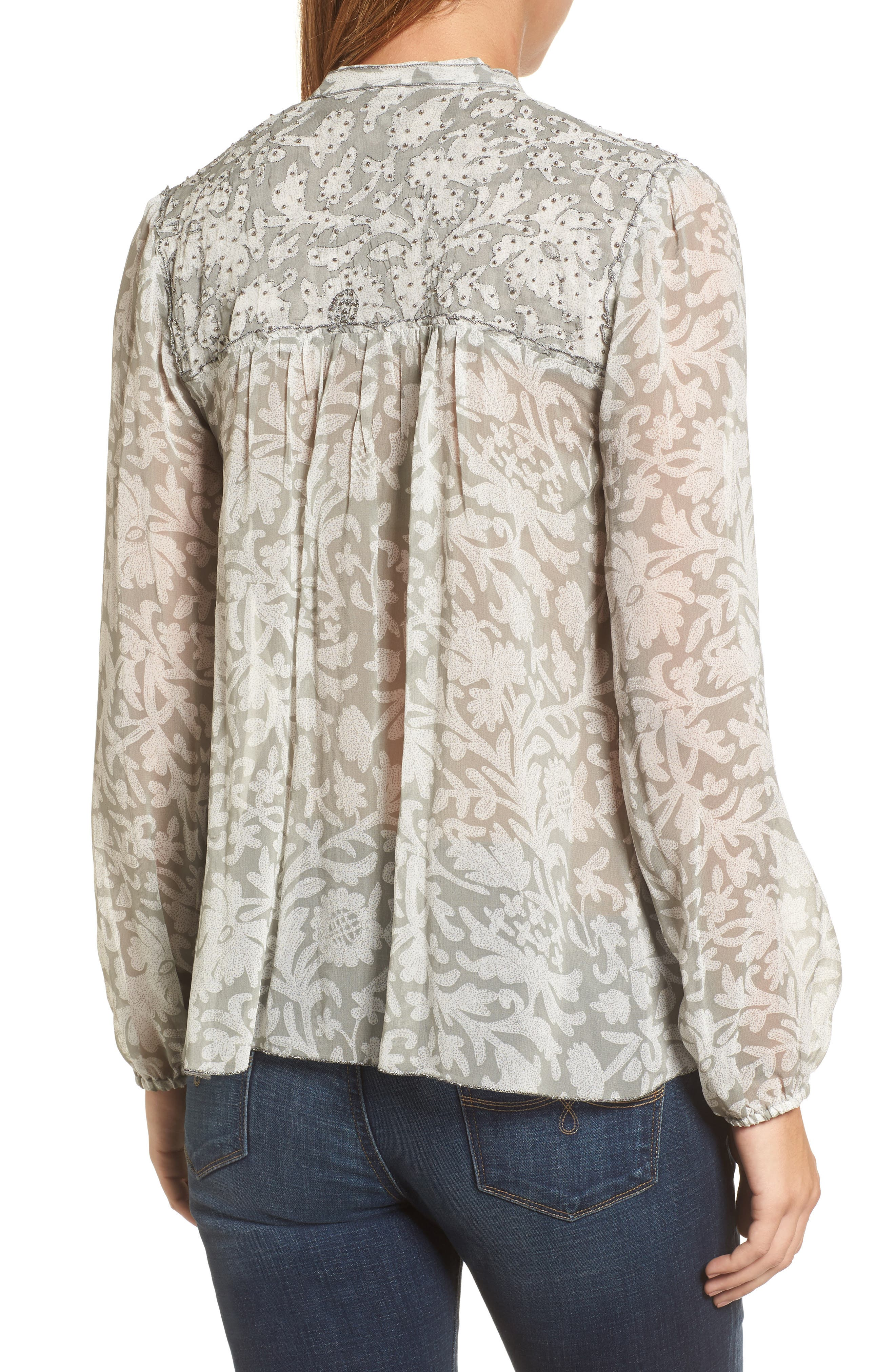 Beaded Floral Print Top,                             Alternate thumbnail 2, color,                             060
