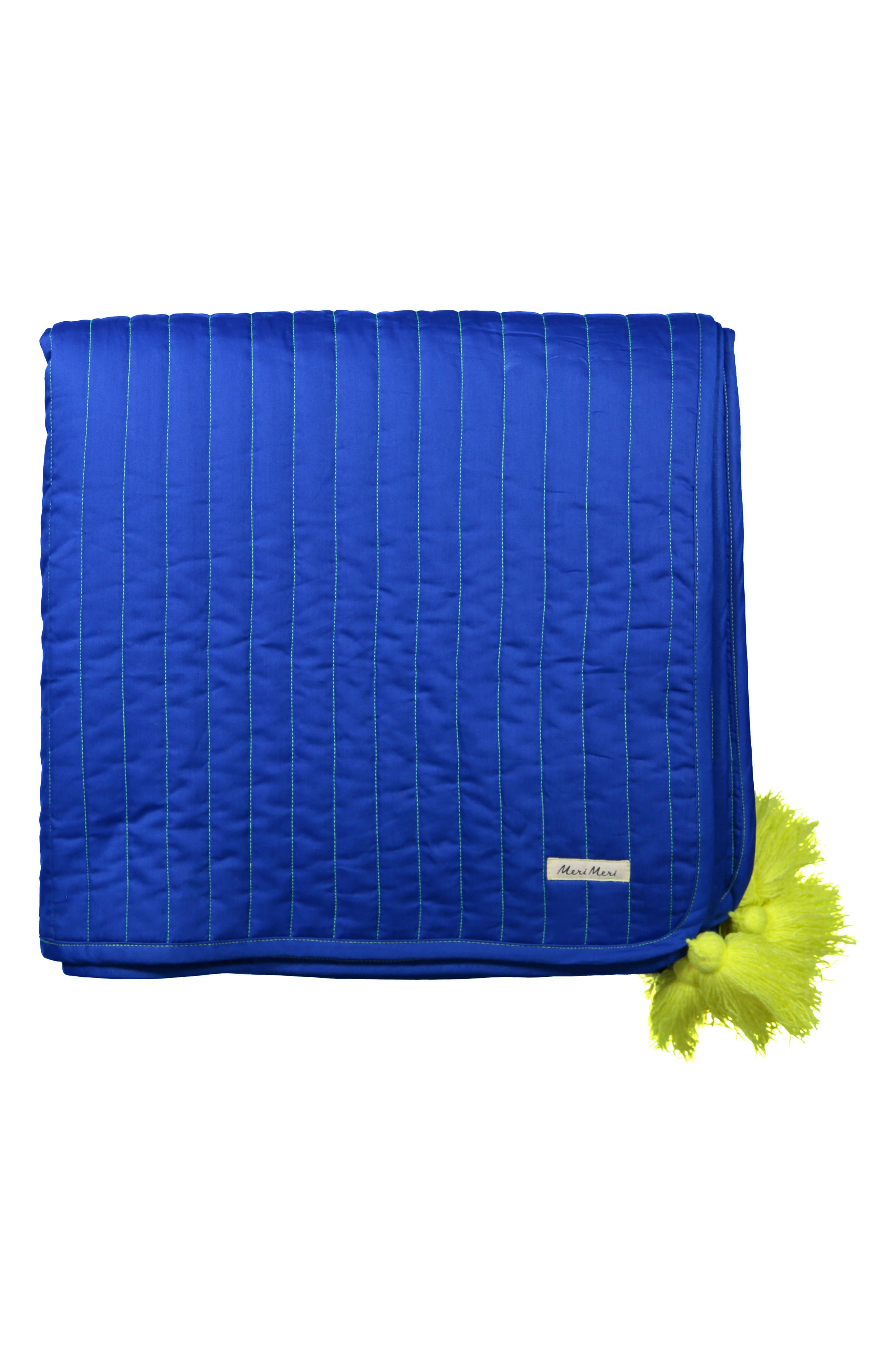 Organic Cotton Quilted Blanket,                             Alternate thumbnail 2, color,                             BLUE