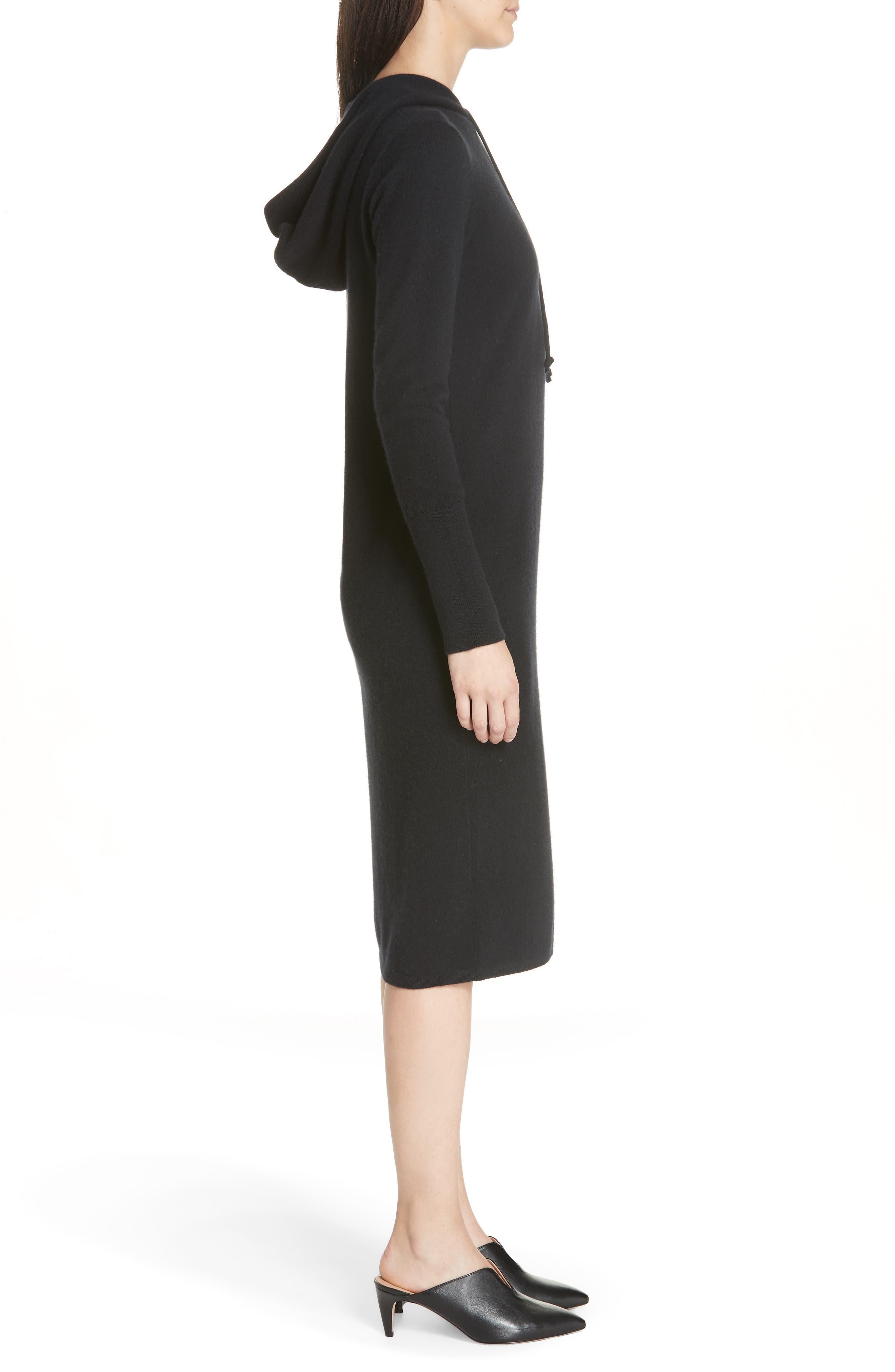 Cashmere Blend Hoodie Dress,                             Alternate thumbnail 3, color,                             BLACK