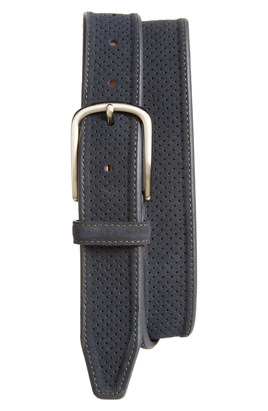 Perforated Suede Belt,                             Main thumbnail 1, color,                             410