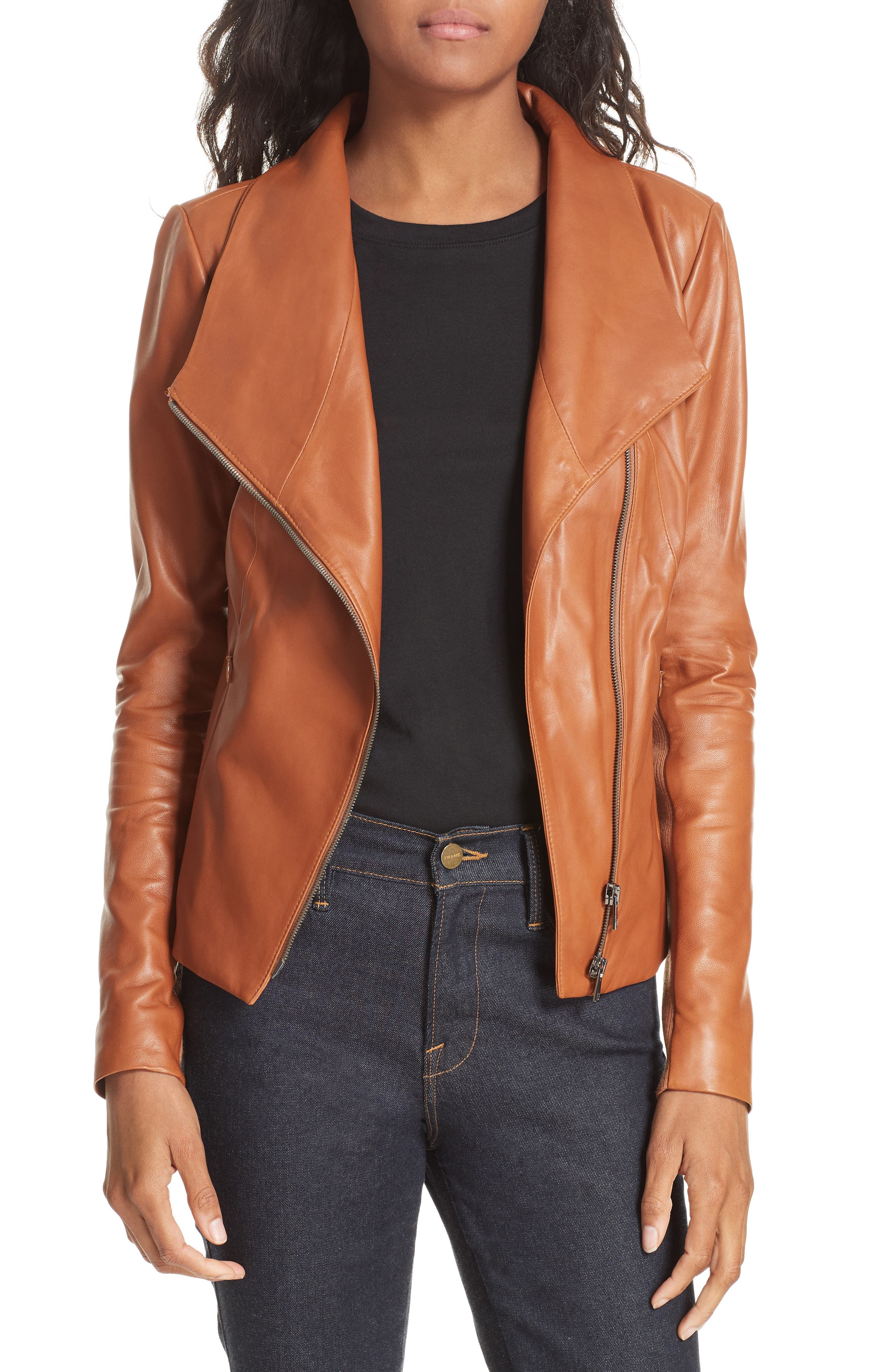 Stand Collar Leather Jacket,                             Main thumbnail 1, color,                             RUST BISQUE