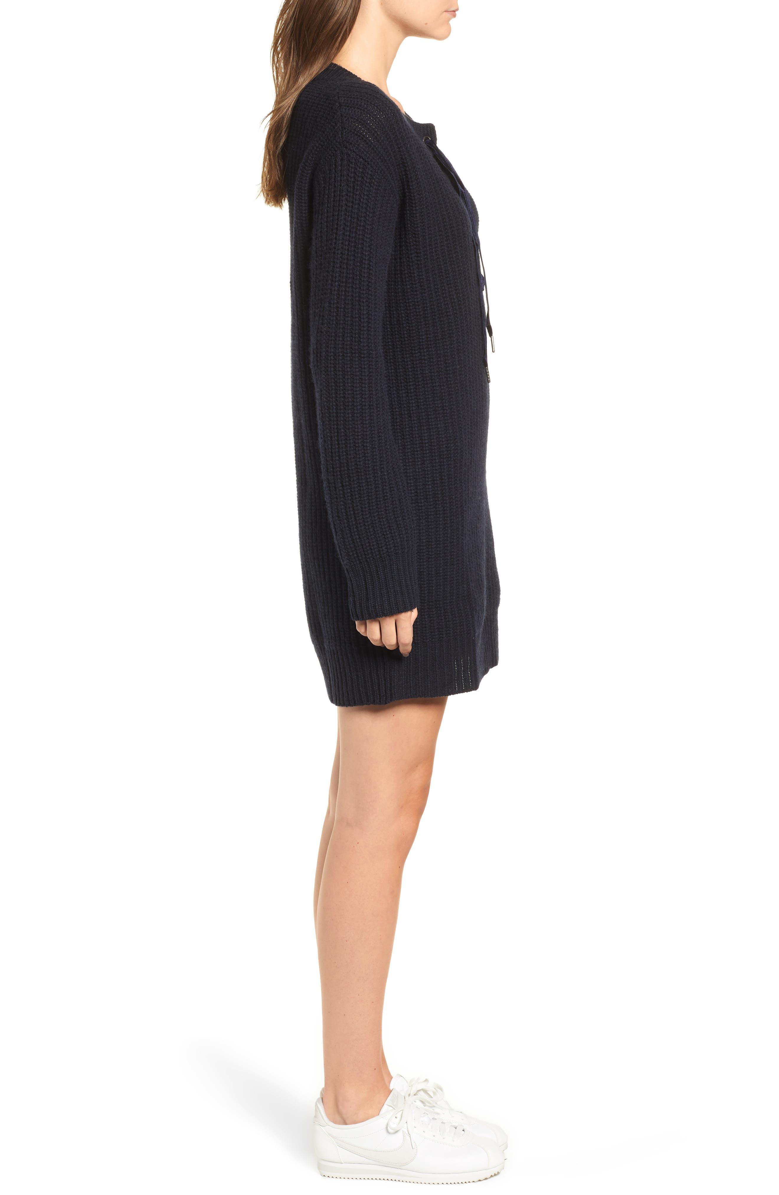 Nicole Velvet Tie Sweater Dress,                             Alternate thumbnail 3, color,                             400