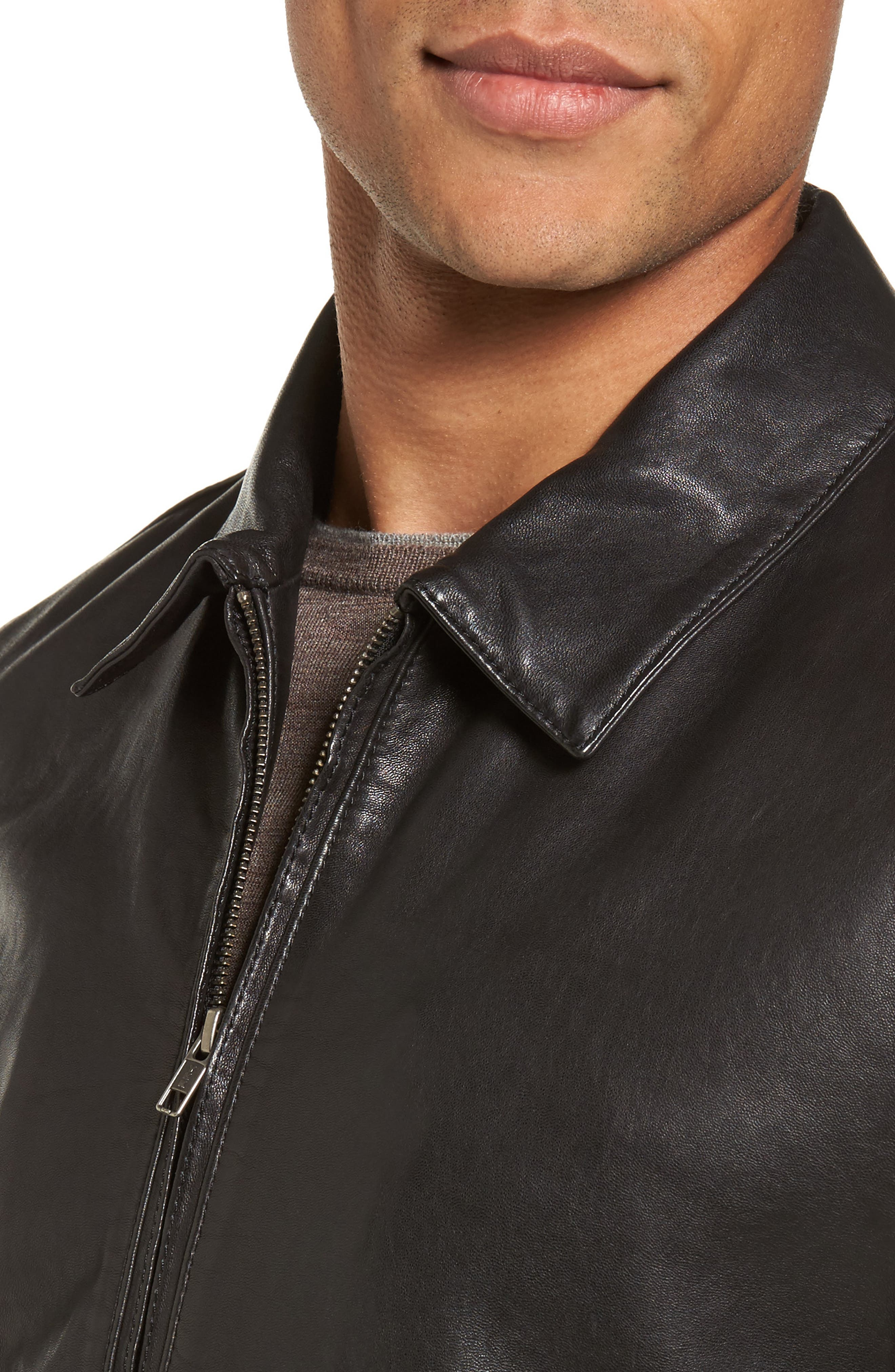Leather Bomber Jacket,                             Alternate thumbnail 4, color,                             001