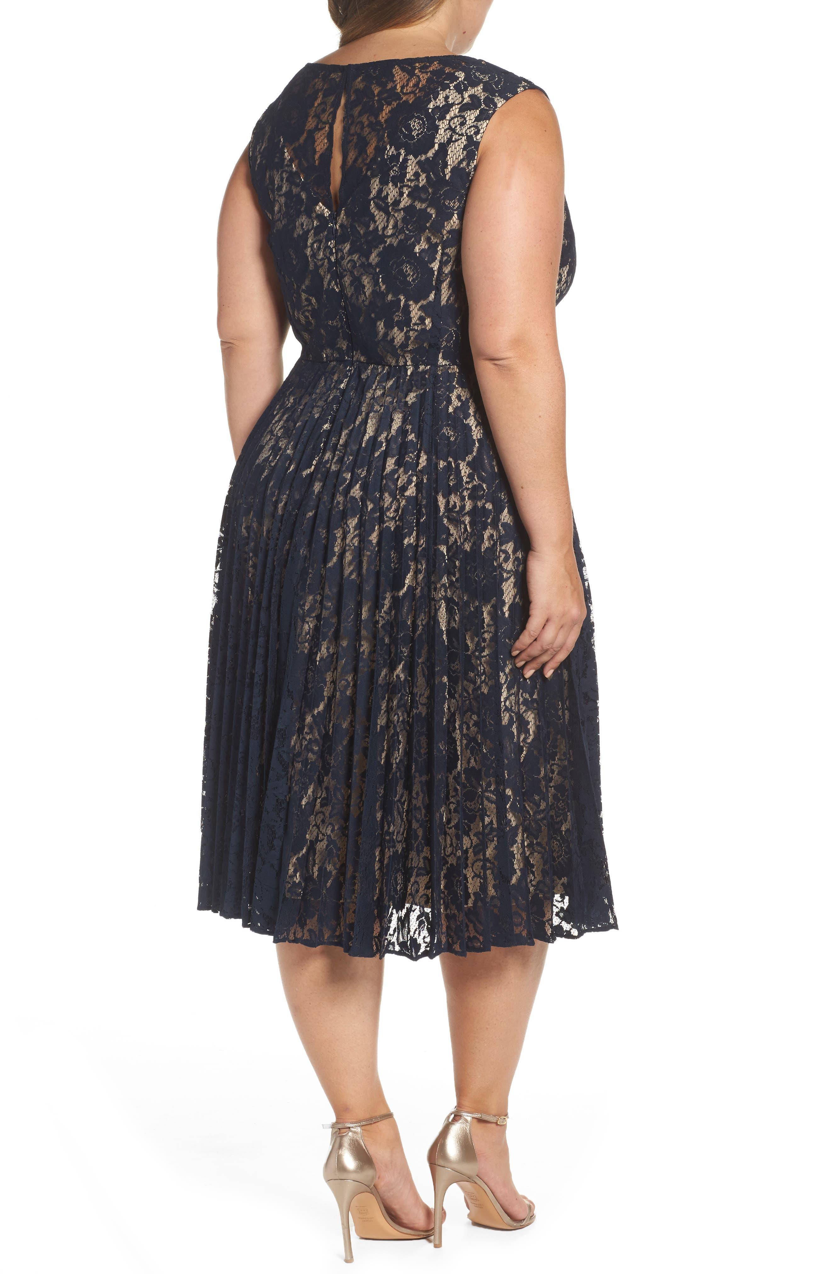 Illusion Lace Pleat Midi Dress,                             Alternate thumbnail 2, color,                             410