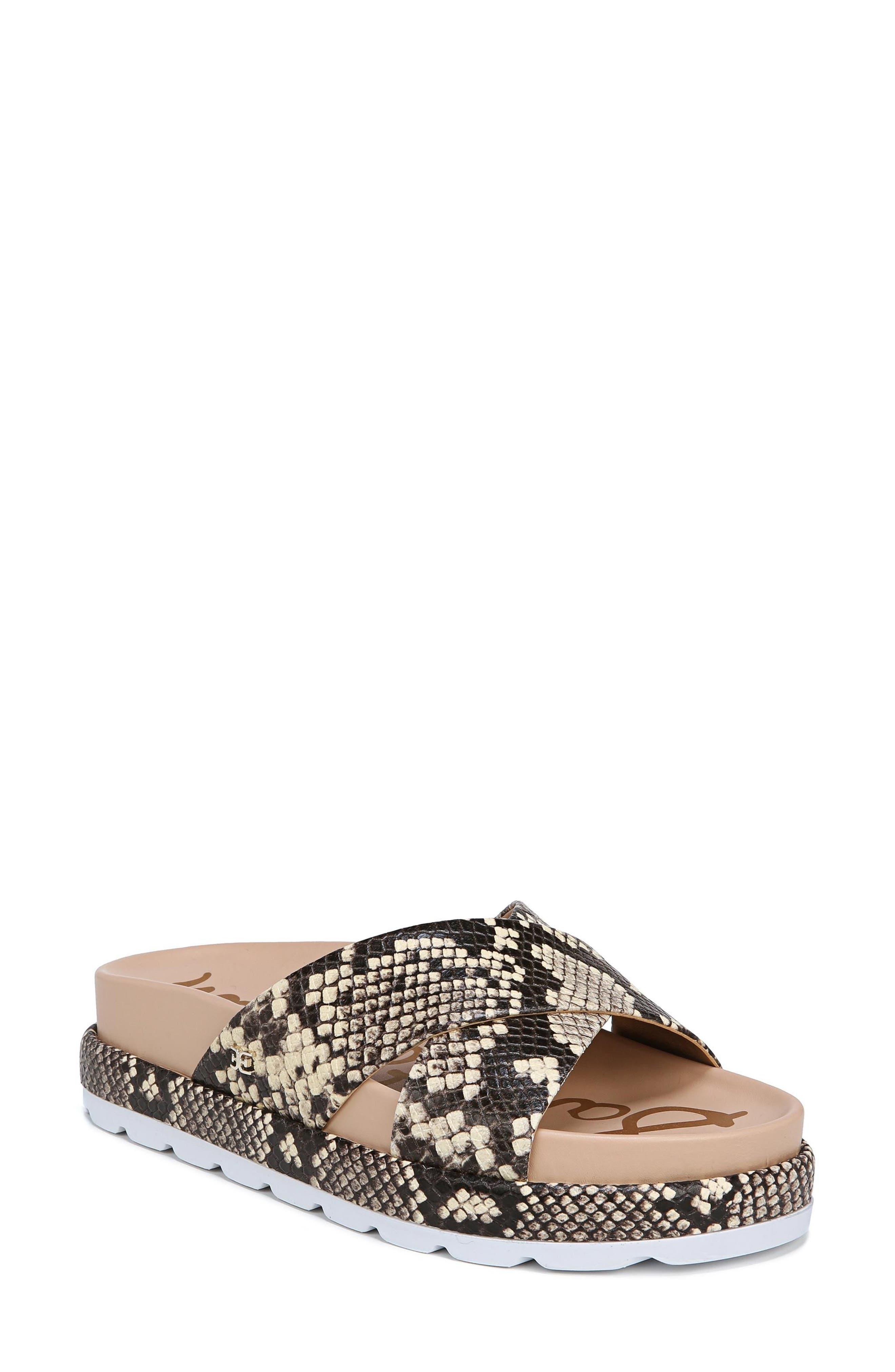 Sadia Slide Sandal,                         Main,                         color, NATURAL SNAKE PRINT LEATHER