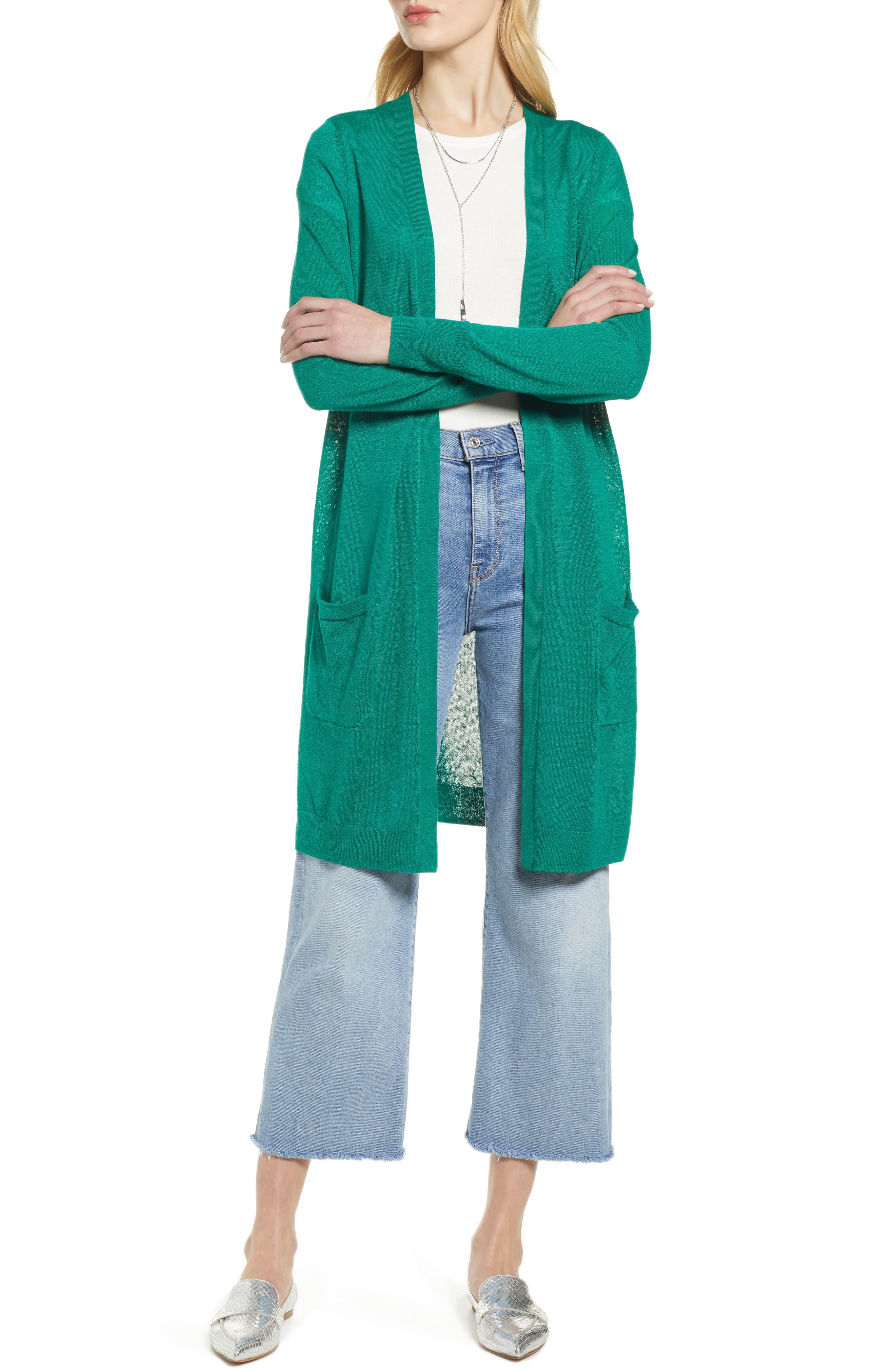 Petite Halogen Long Linen Blend Cardigan, Green