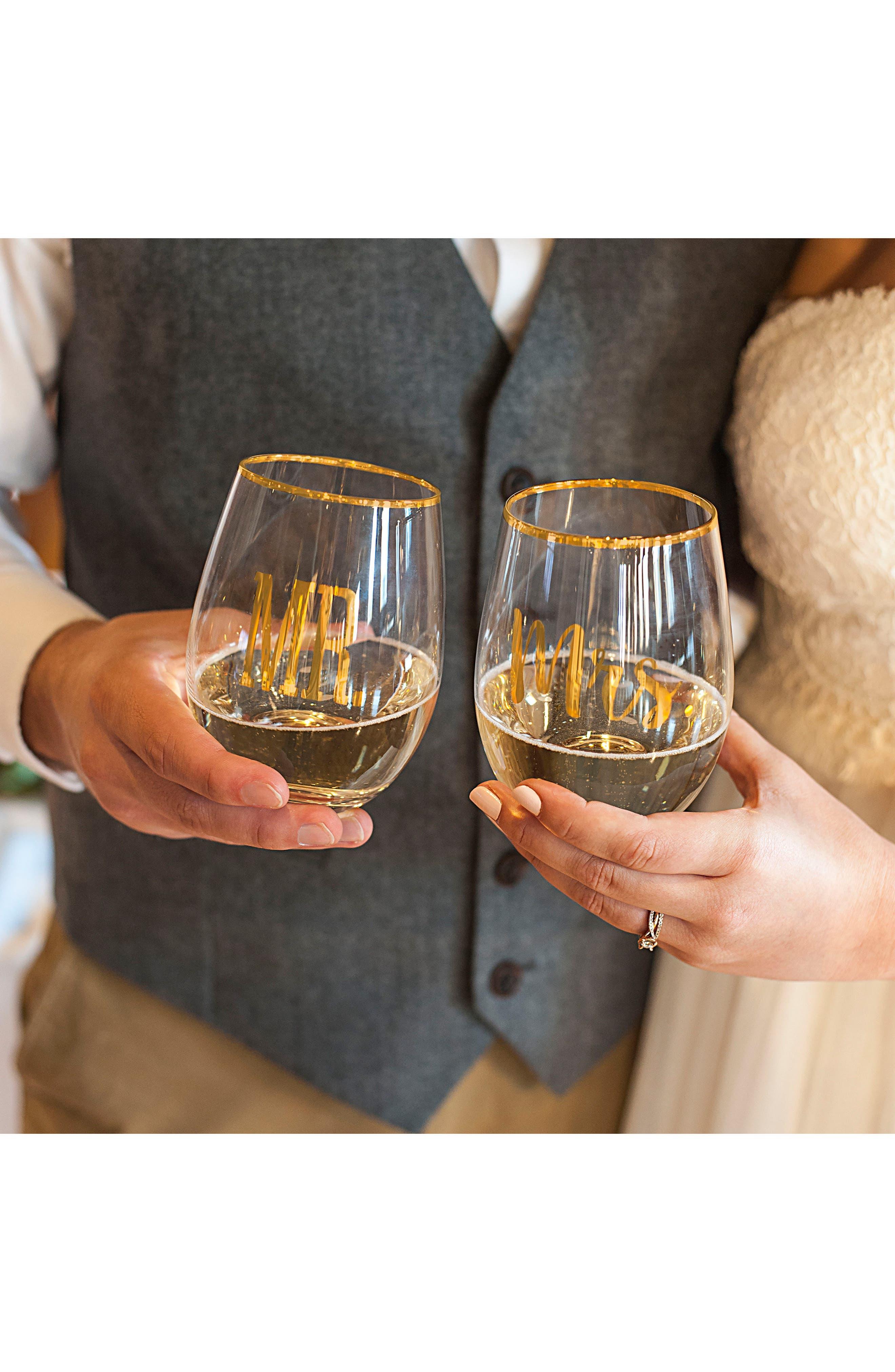 Mr. & Mrs. Set of 2 Stemless Wine Glasses,                             Alternate thumbnail 5, color,                             710