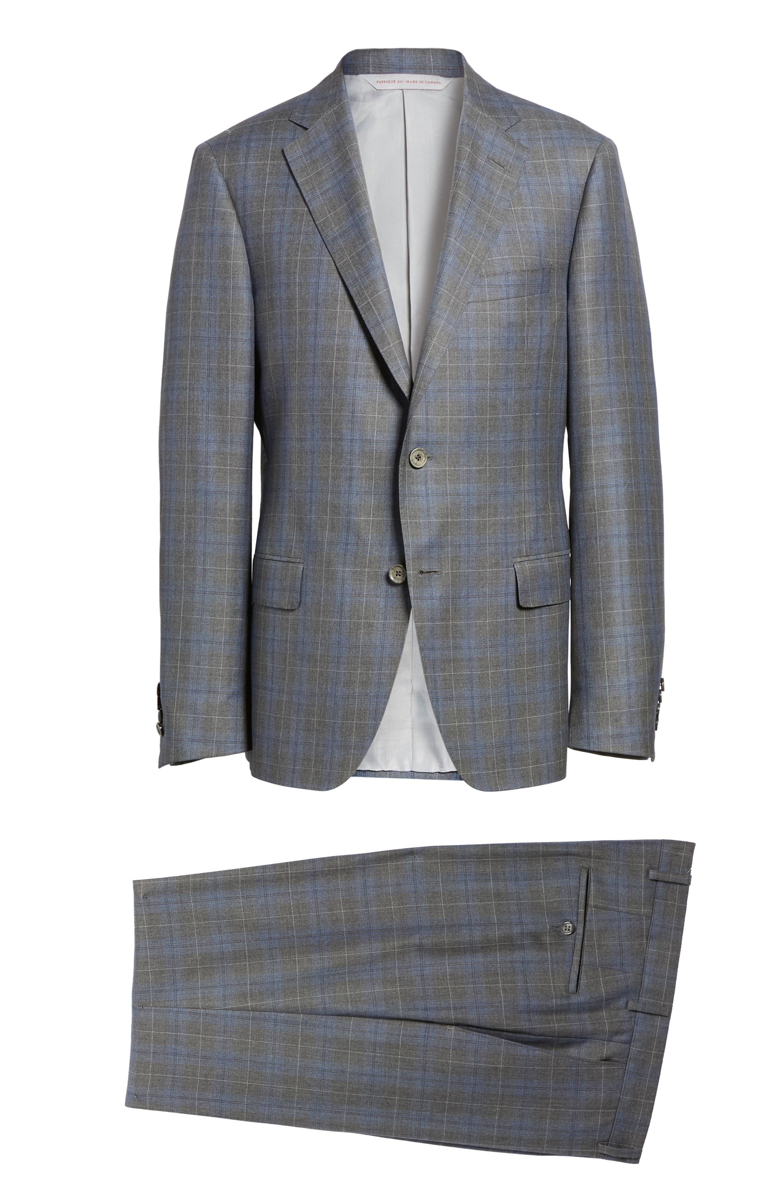 Classic Fit Plaid Wool & Silk Suit,                             Alternate thumbnail 8, color,                             030