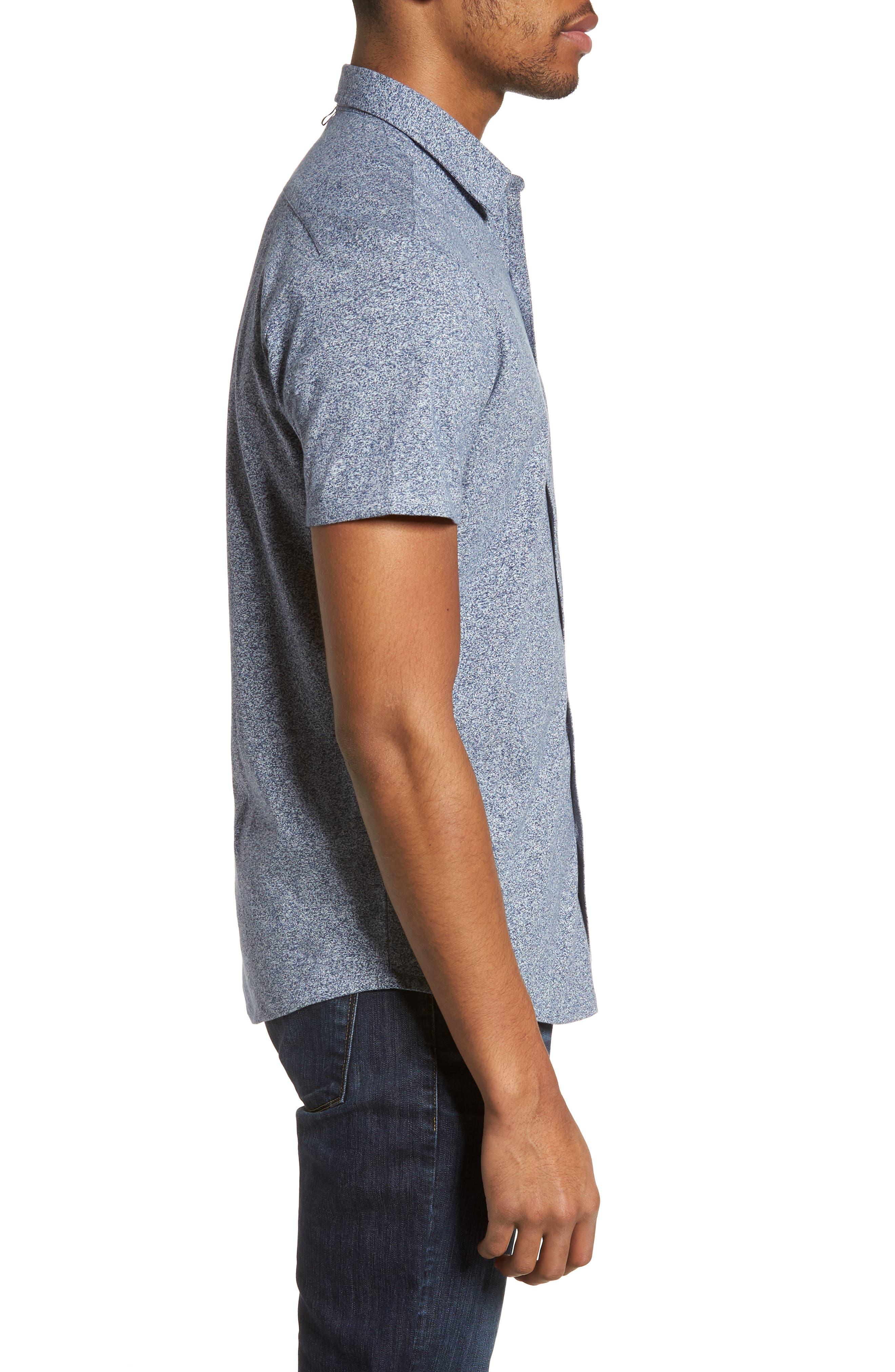 'Metropolitan' Knit Short Sleeve Sport Shirt,                             Alternate thumbnail 3, color,                             NAVY/ WHITE