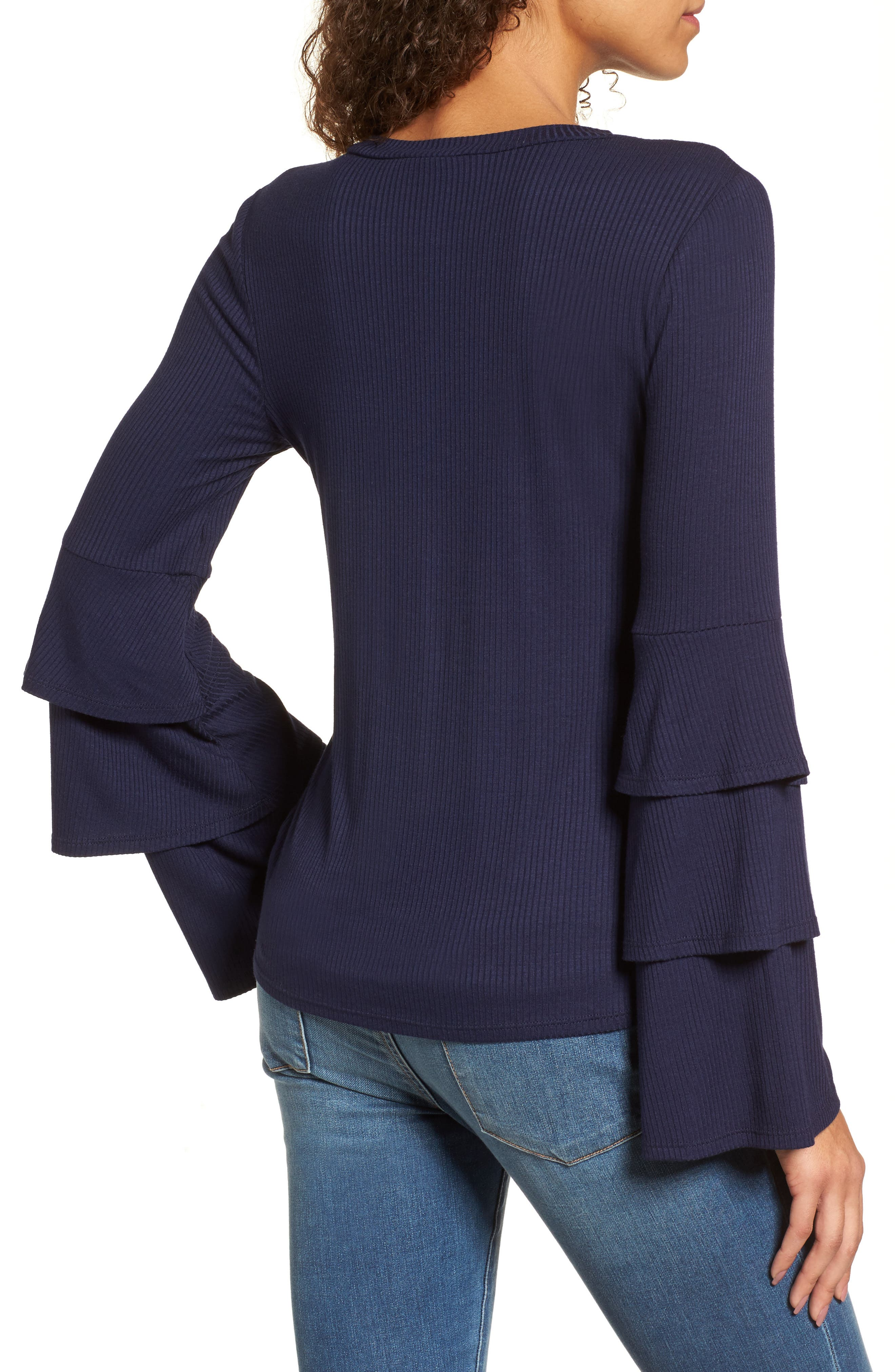 Ruffle Sleeve Ribbed Sweater,                             Alternate thumbnail 6, color,