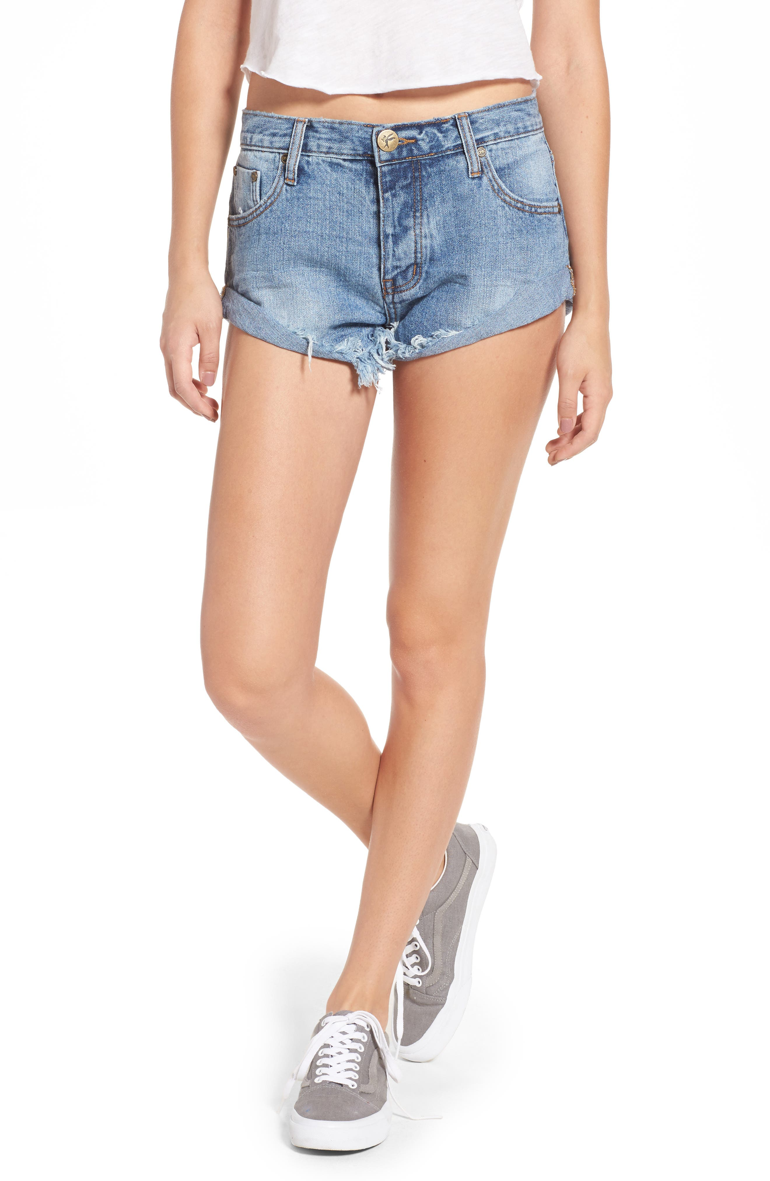 Bandits Denim Shorts, Main, color, 460