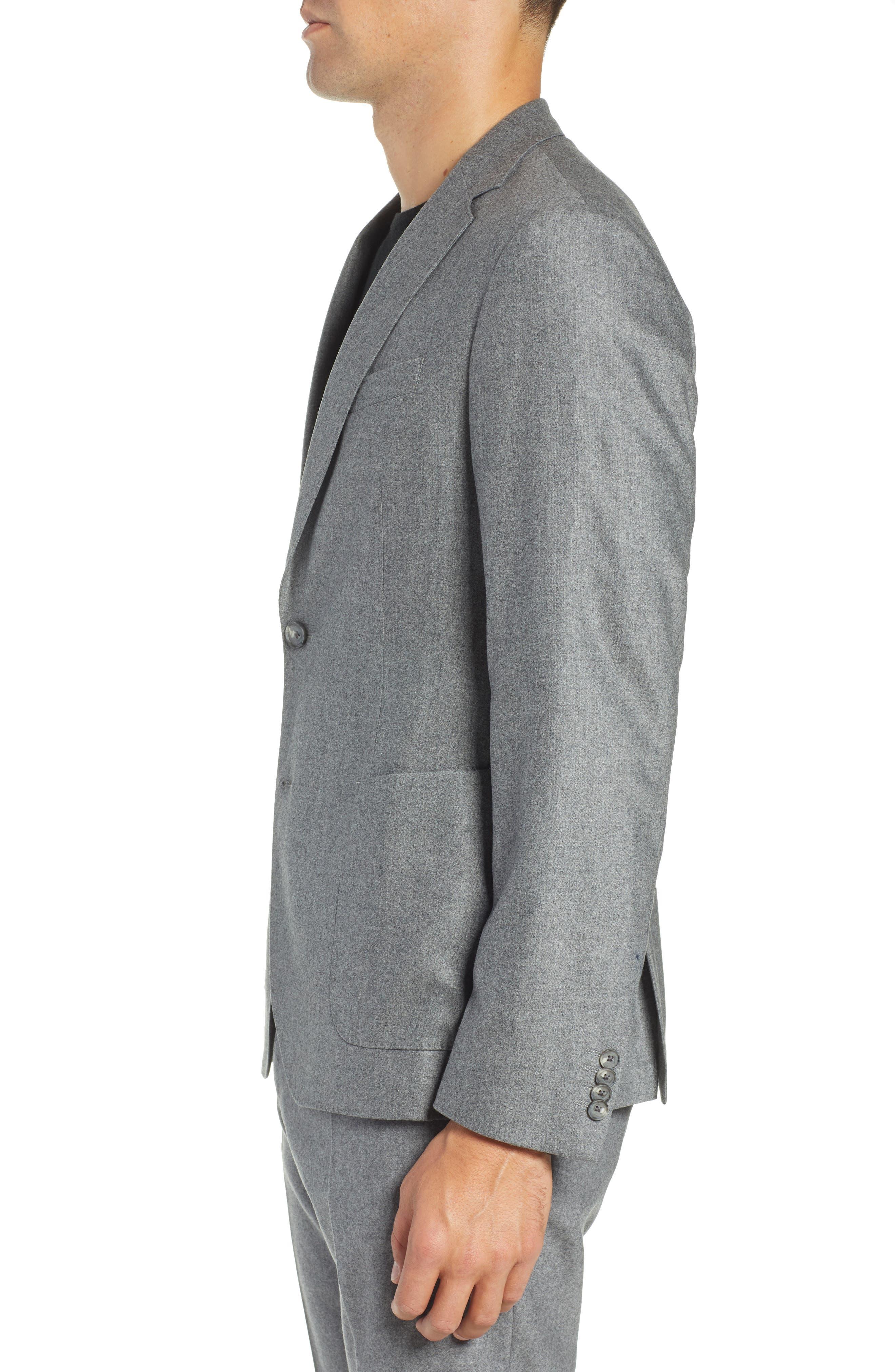 Nold Trim Fit Stretch Wool Blend Blazer,                             Alternate thumbnail 3, color,                             MEDIUM GREY