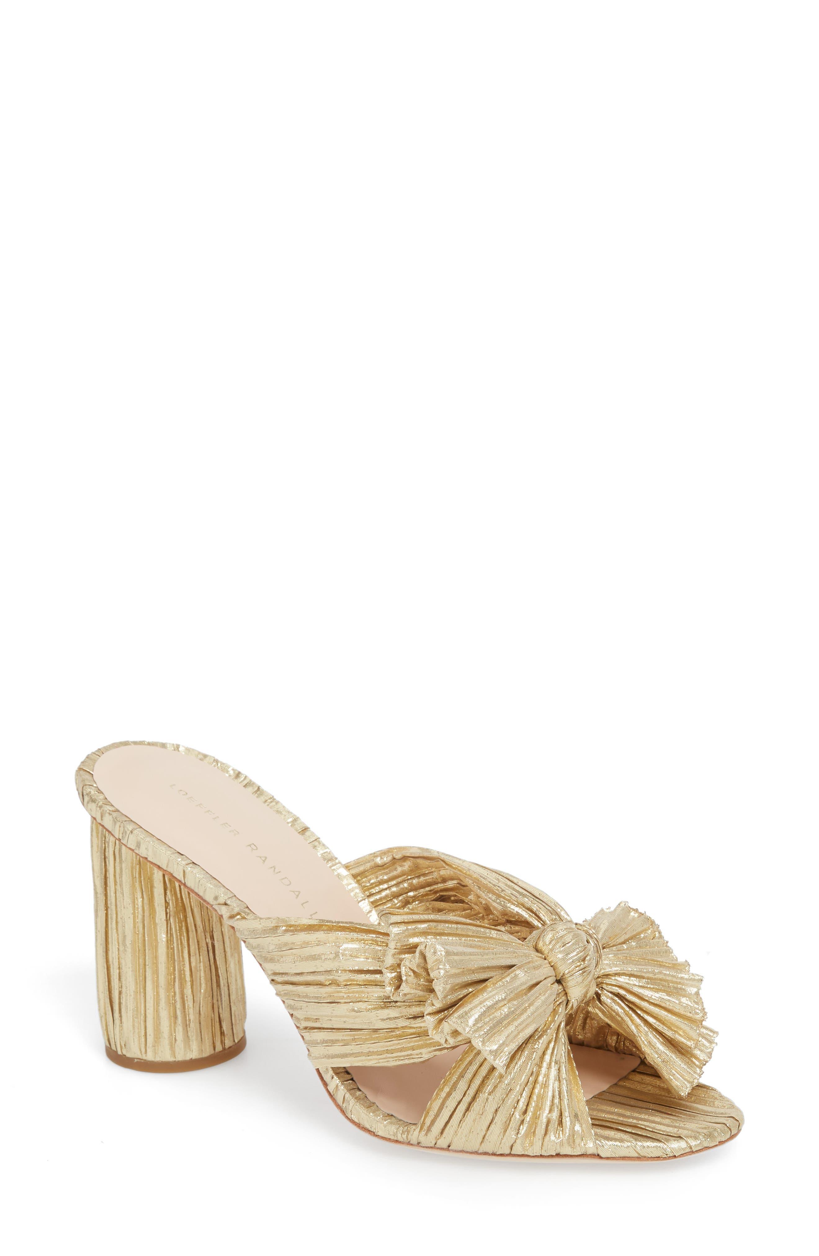 Penny Knotted Lamé Sandal,                         Main,                         color, GOLD