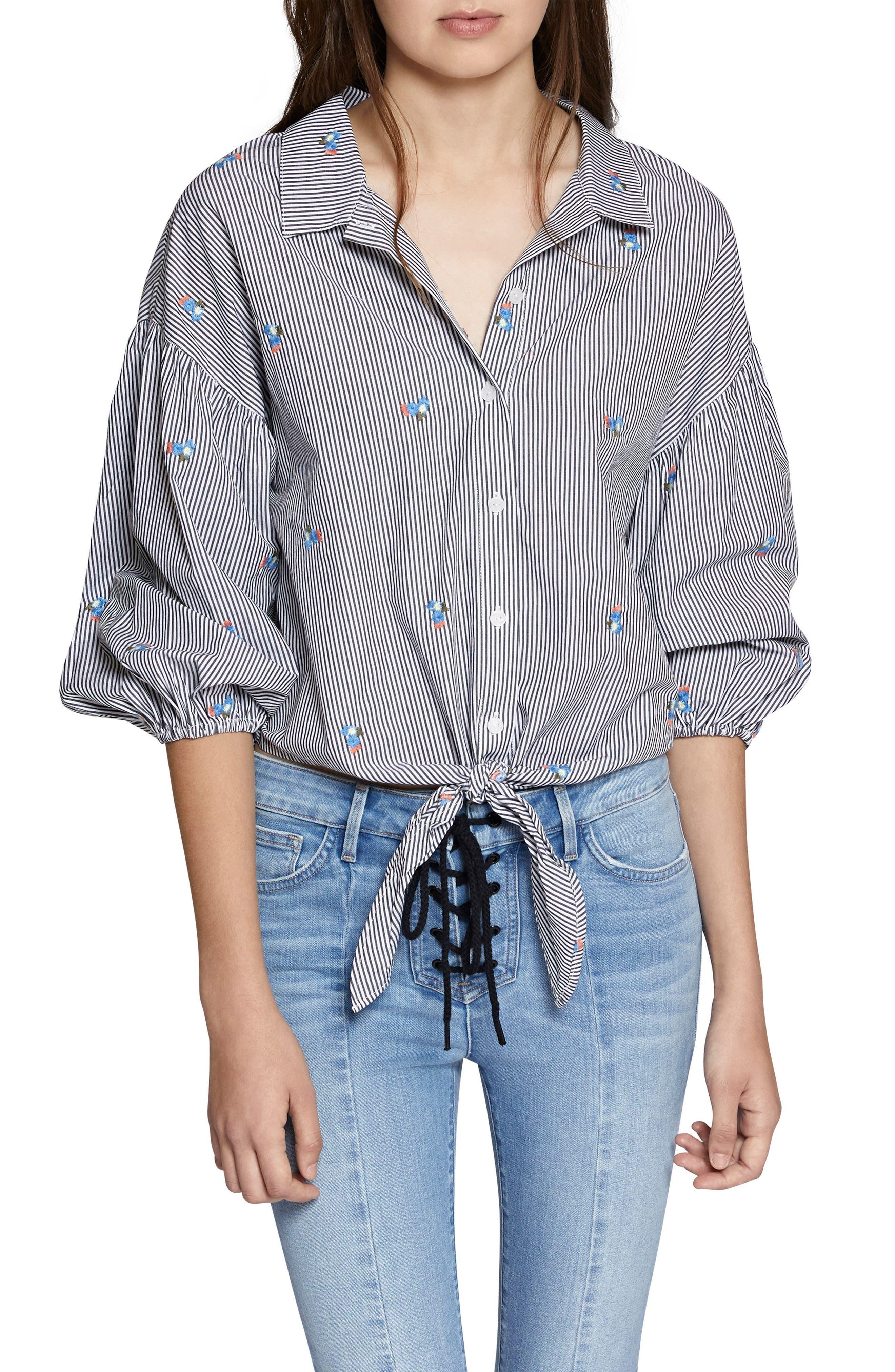 Clover Tie Front Cotton Shirt,                             Main thumbnail 1, color,