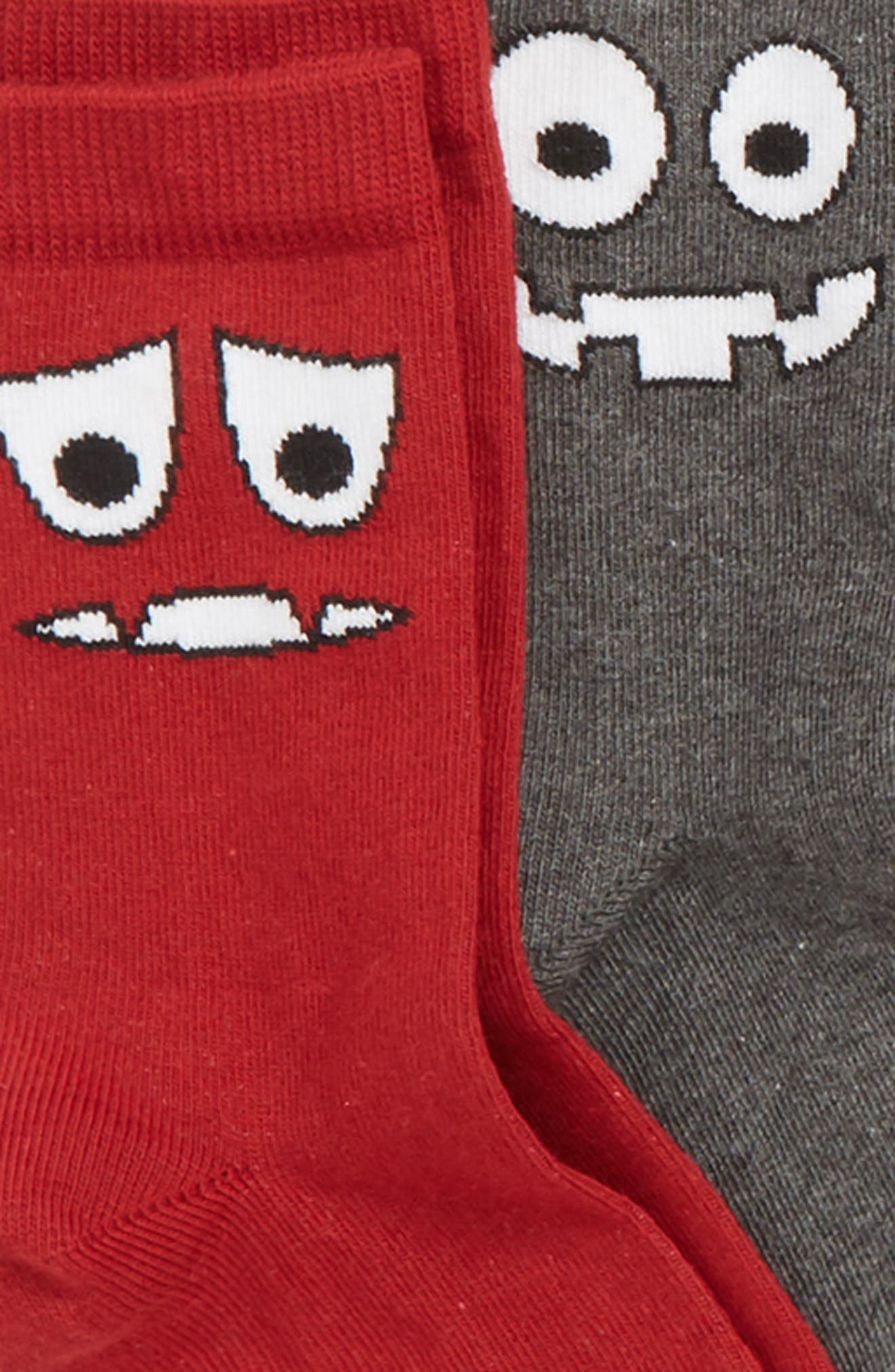 Silly Monster 6-Pack Crew Socks,                             Alternate thumbnail 2, color,                             GREY MEDIUM HEATHER MULTI