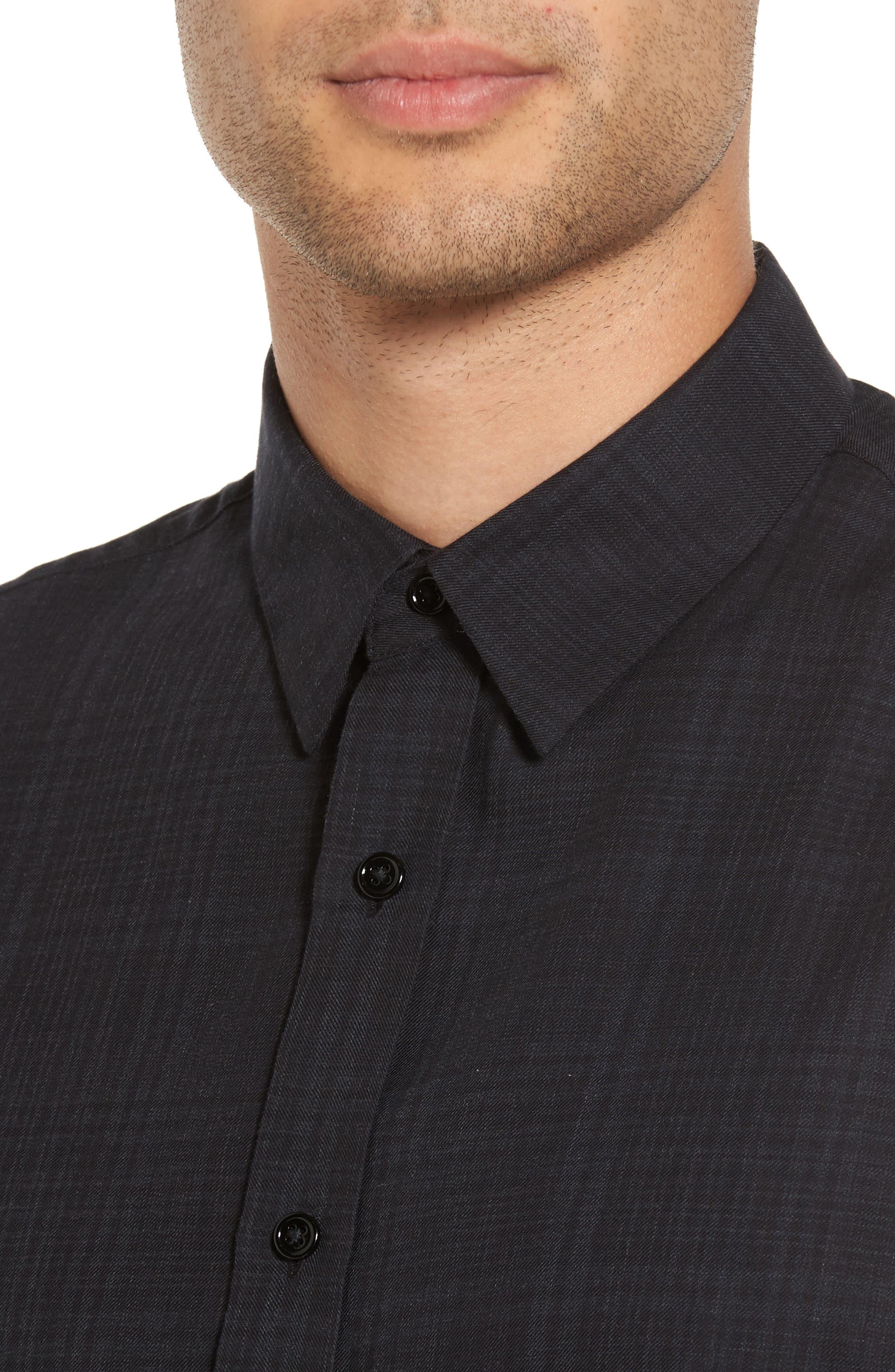 Trim Fit Plaid Sport Shirt,                             Alternate thumbnail 4, color,                             094