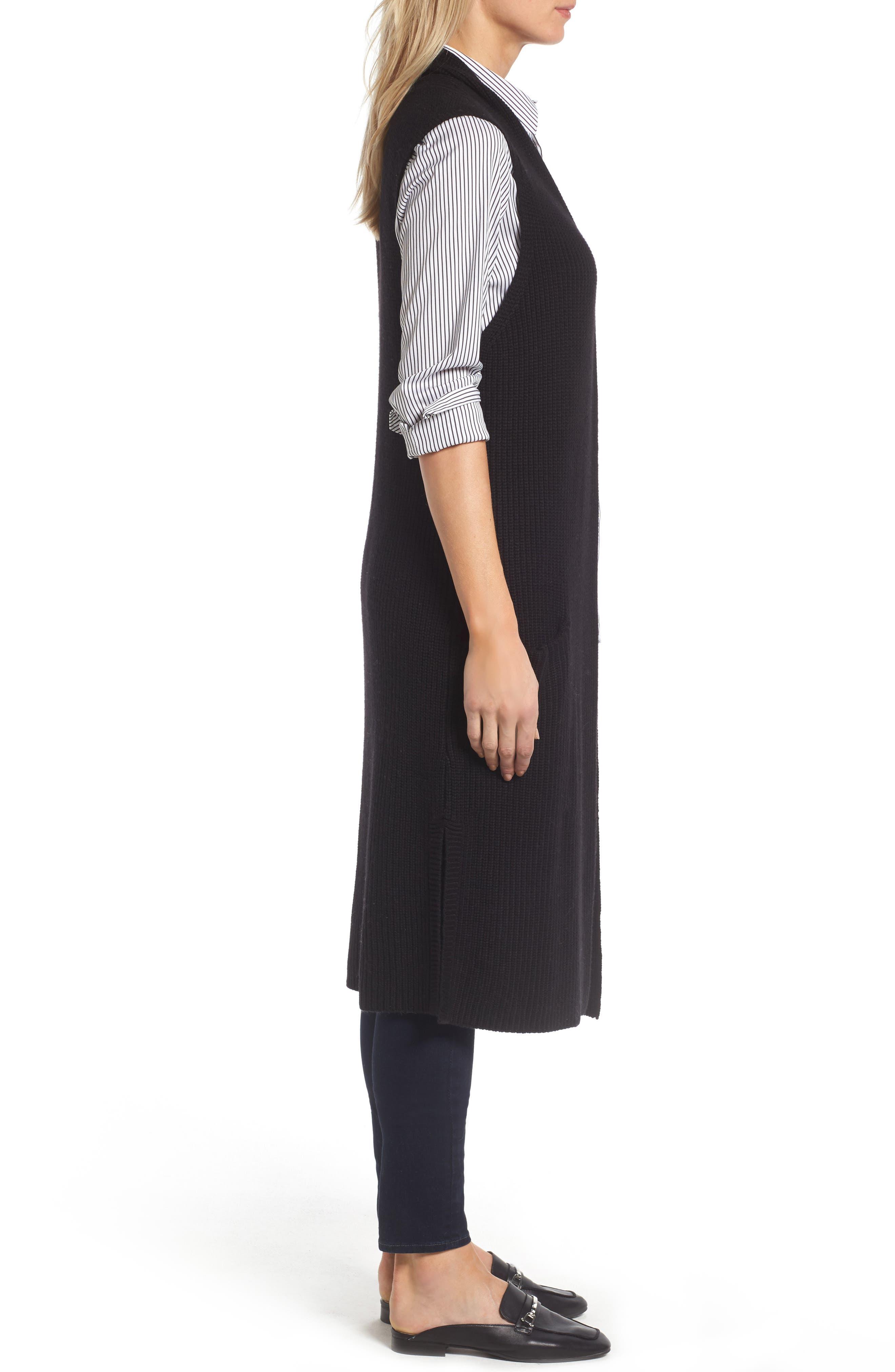 HALOGEN<SUP>®</SUP>,                             Long Knit Vest,                             Alternate thumbnail 3, color,                             001