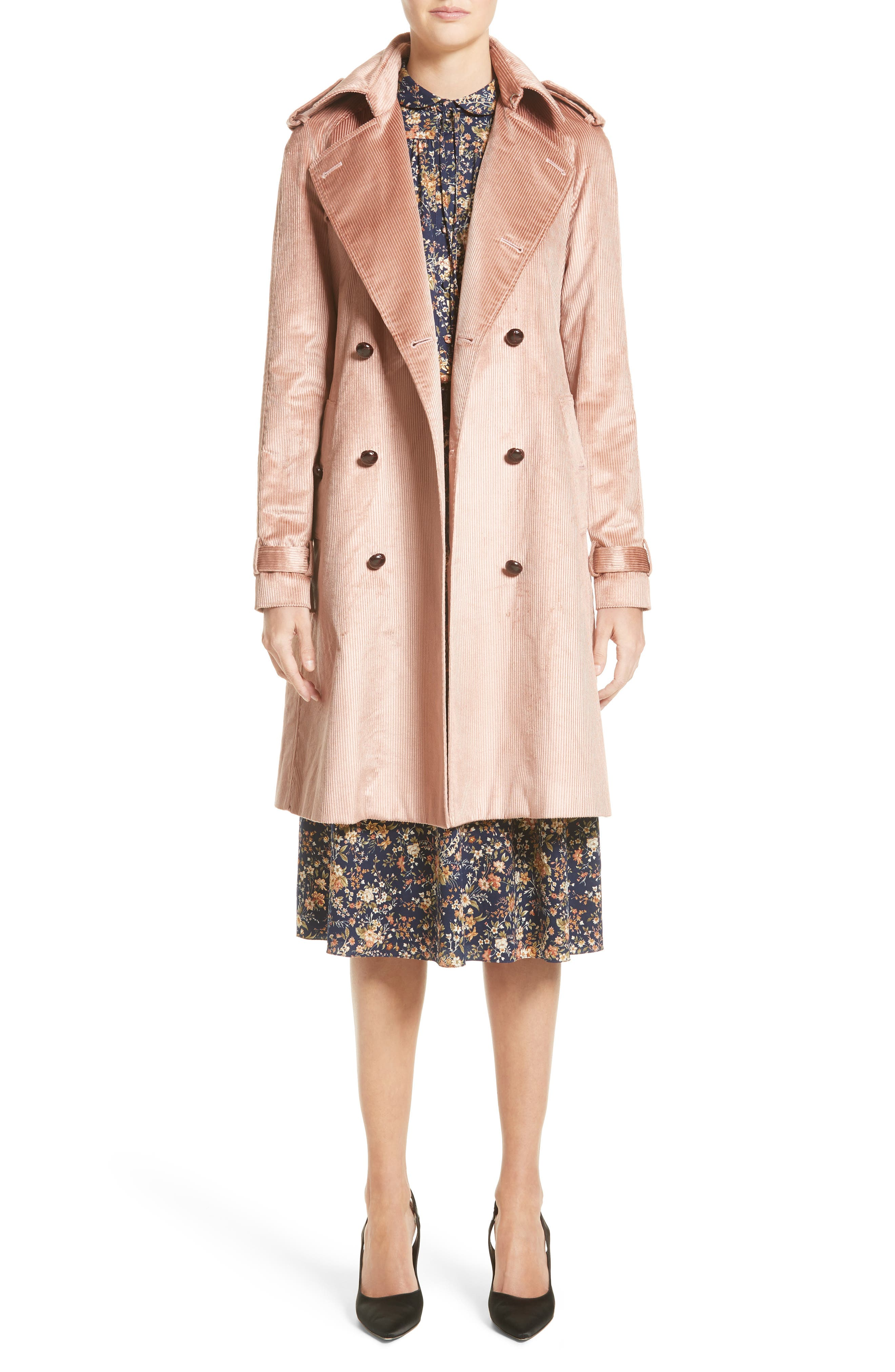 Corduroy Belted Trench Coat,                             Alternate thumbnail 7, color,                             680