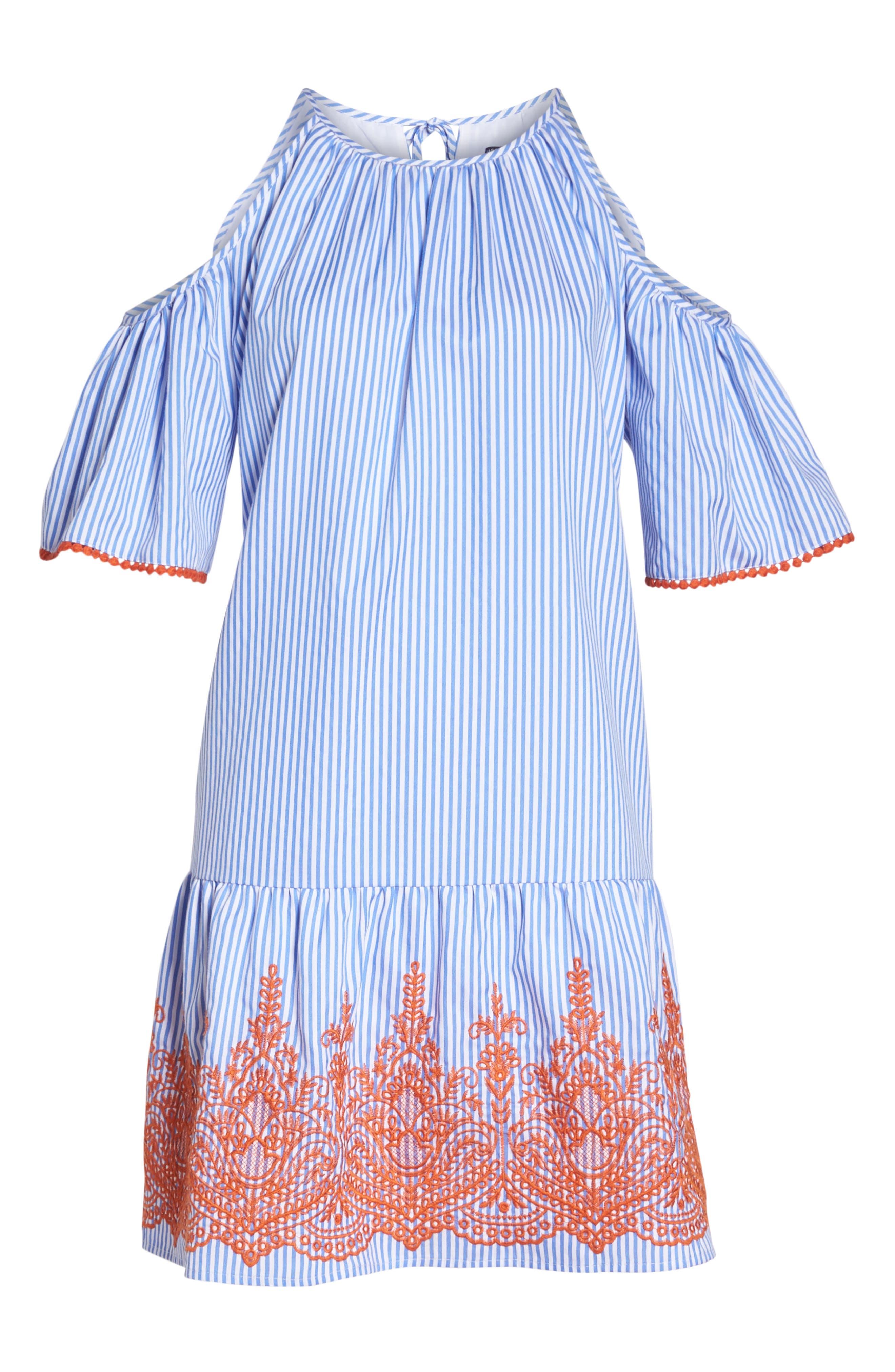 Stripe Cold Shoulder Shift Dress,                             Alternate thumbnail 7, color,                             410