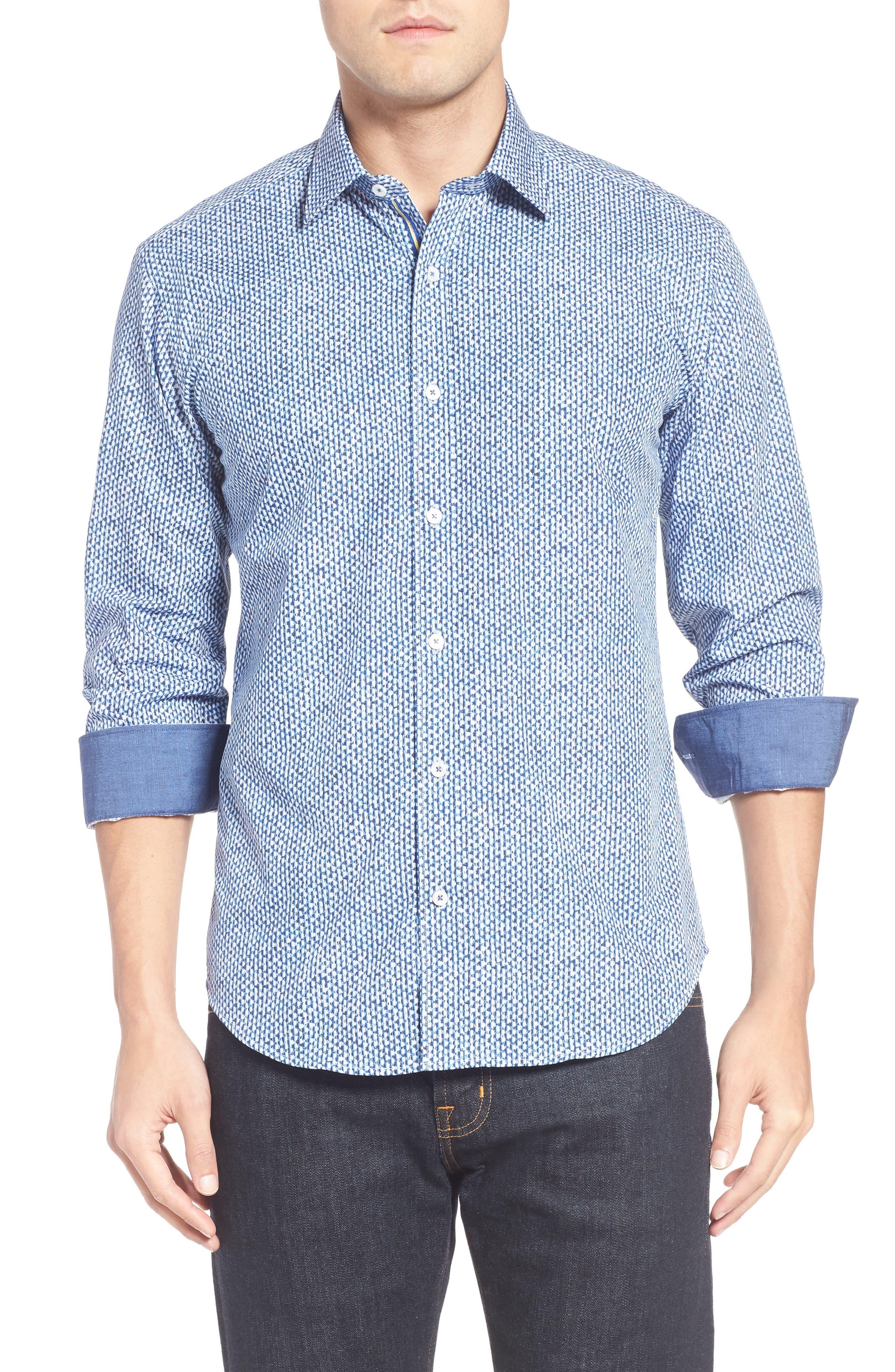 Shaped Fit Print Sport Shirt,                         Main,                         color, 411