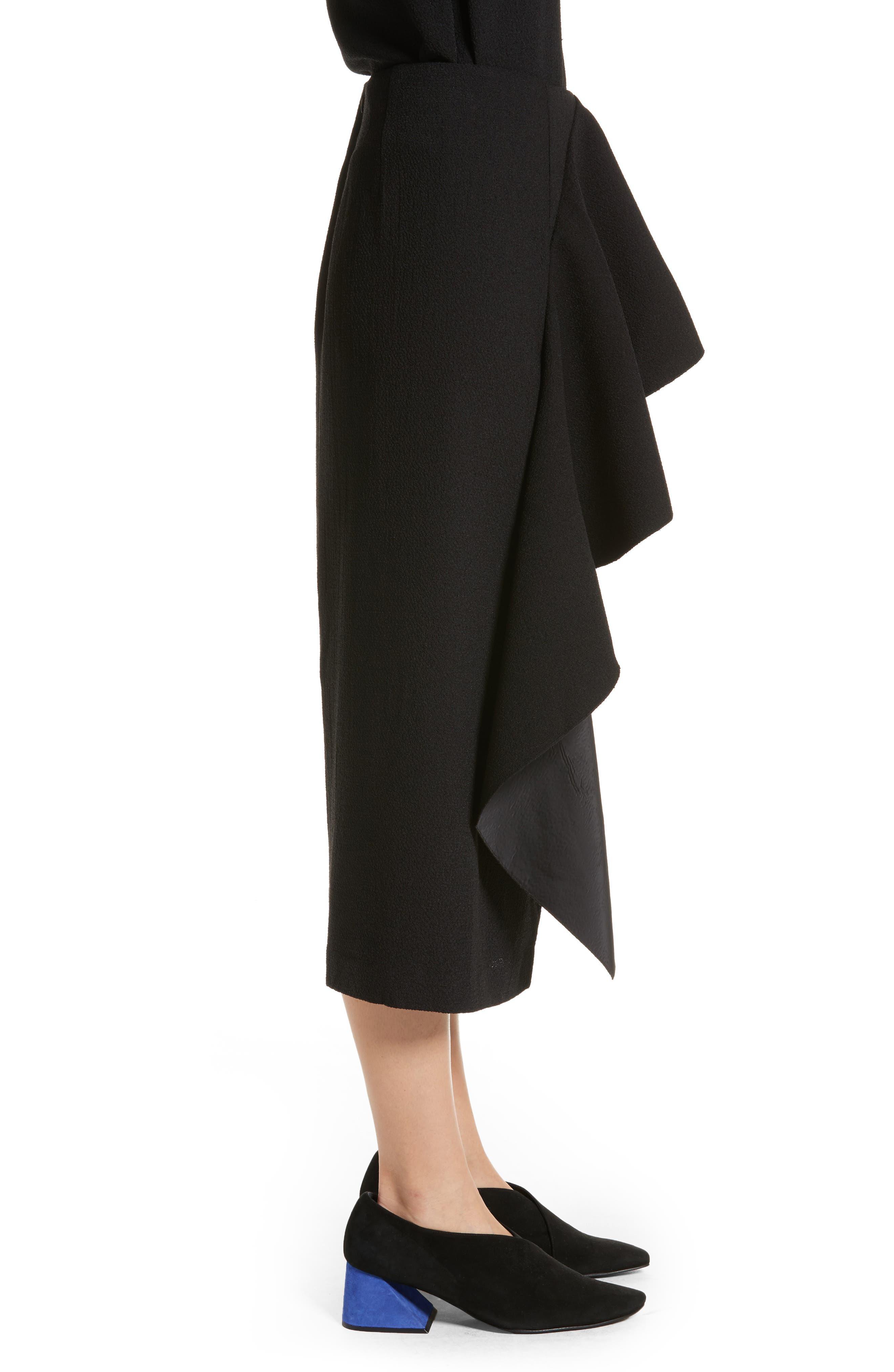 Maude Ruffle Panel Crepe Skirt,                             Alternate thumbnail 3, color,                             001