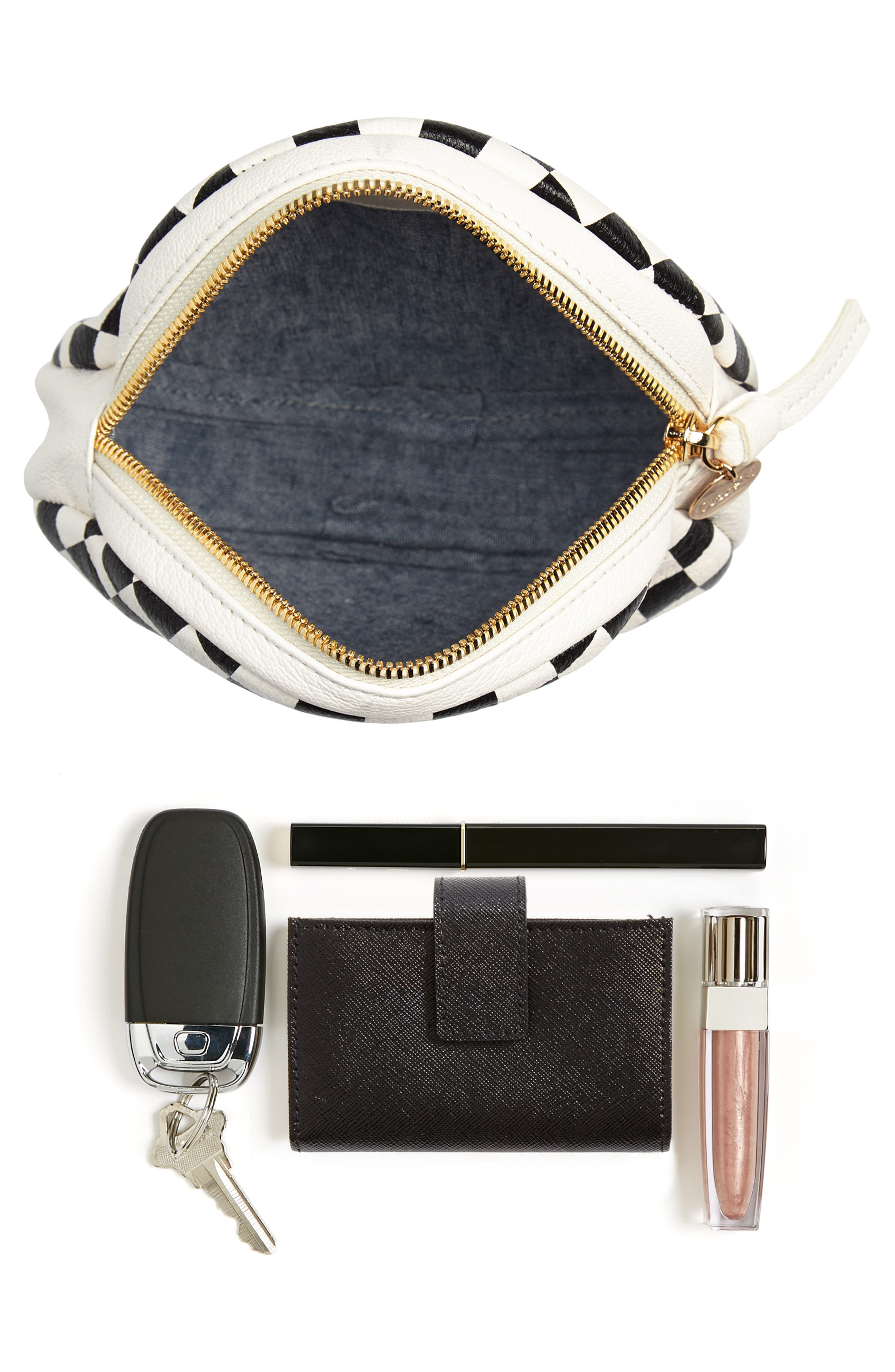 Checkered Leather Circle Clutch,                             Alternate thumbnail 7, color,                             001