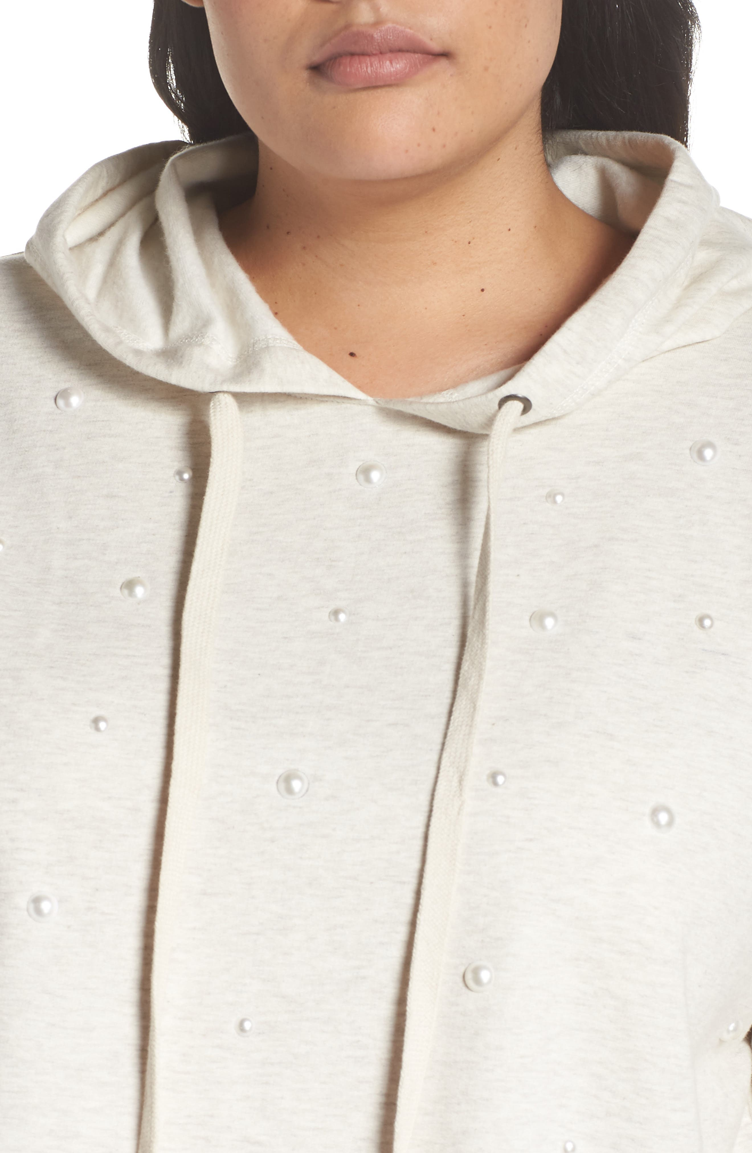 Imitation Pearl Embellished Hoodie,                             Alternate thumbnail 4, color,                             900