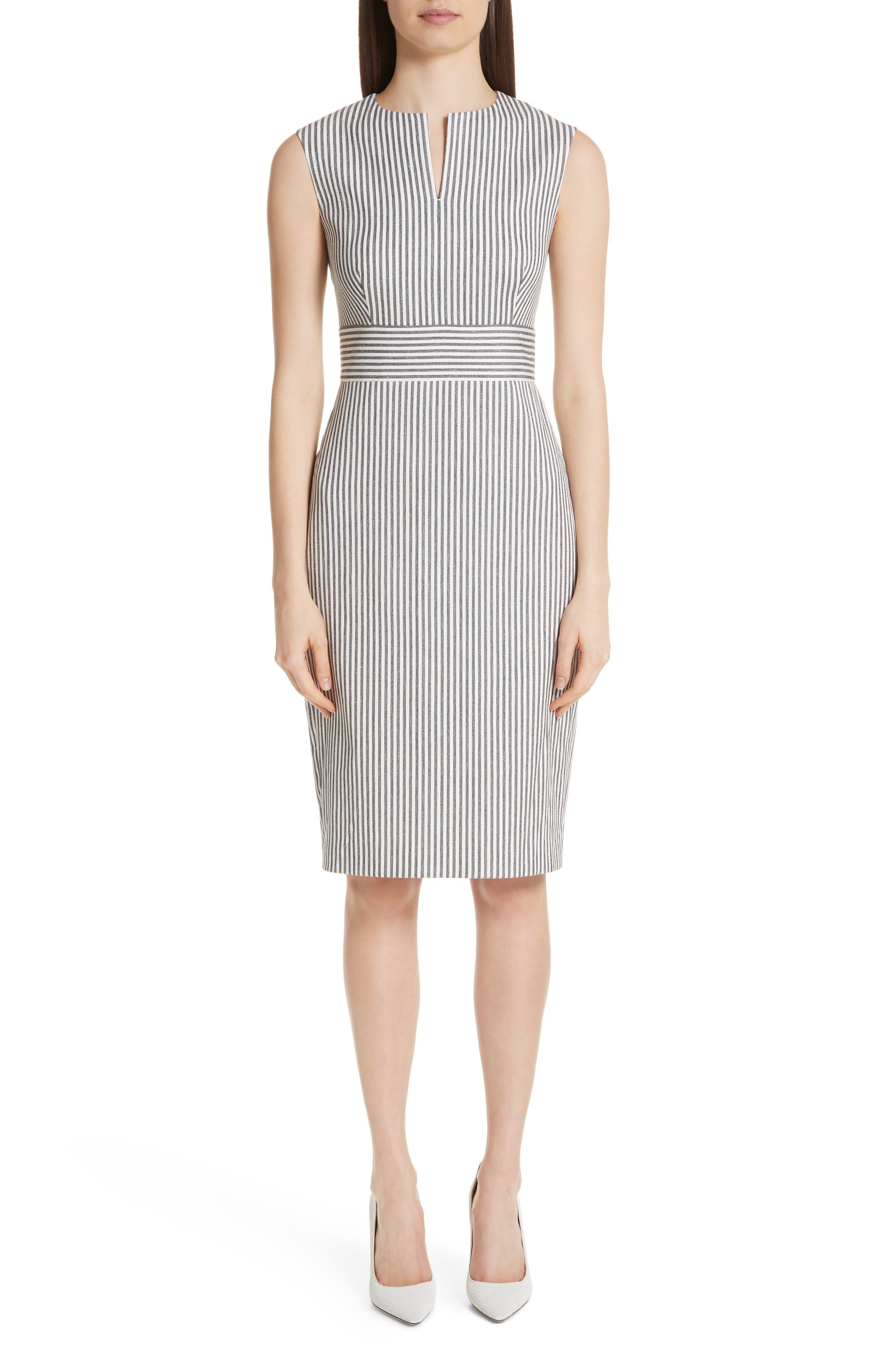Max Mara Caraffa Stripe Cotton & Linen Dress, Blue