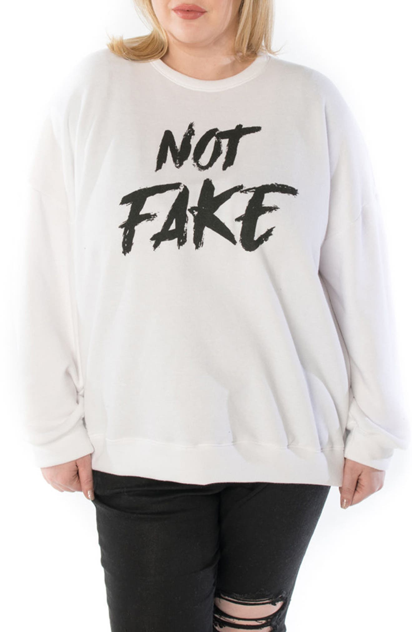 SLINK JEANS Not Fake Oversize Sweatshirt, Main, color, WHITE