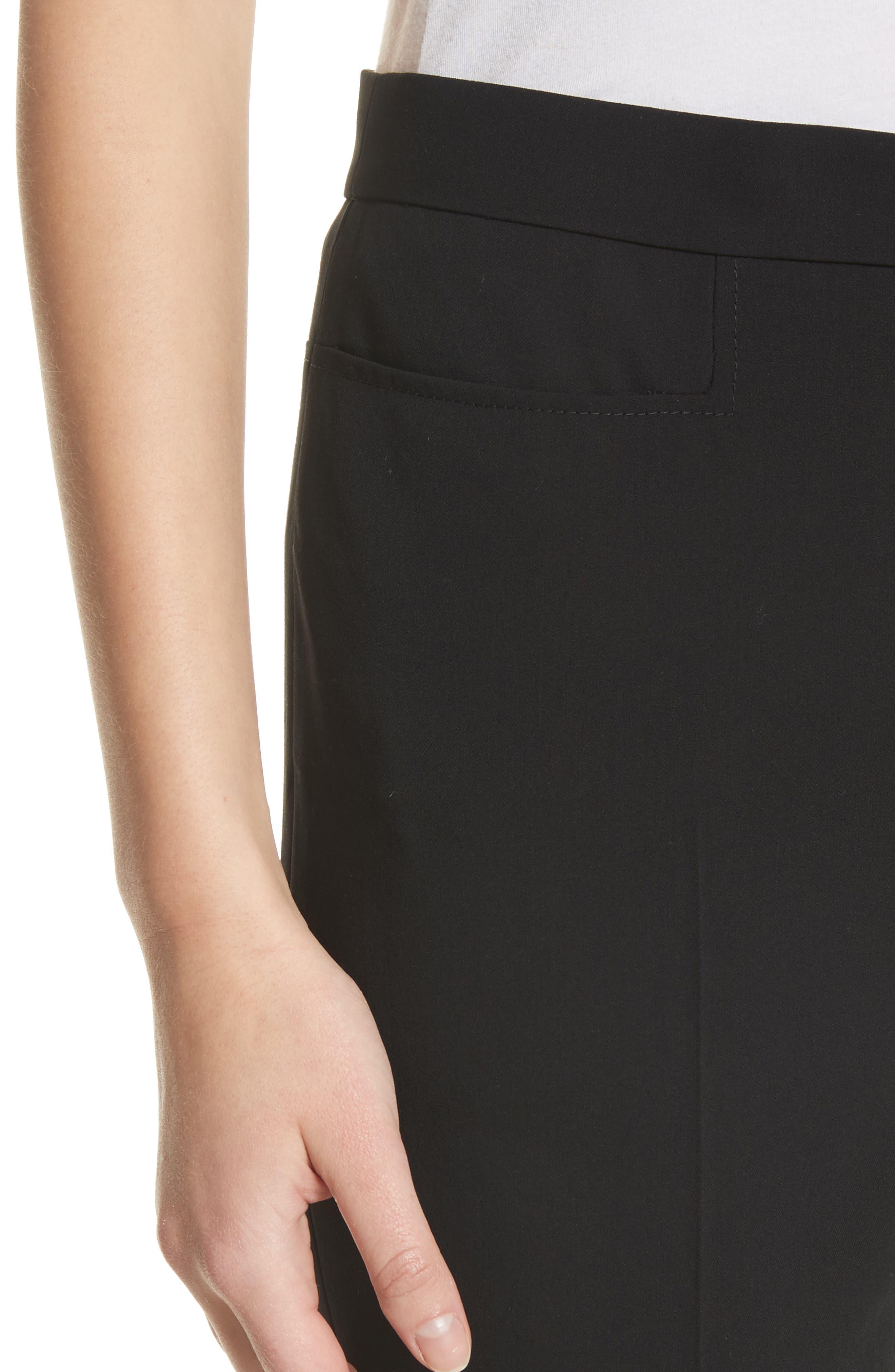 Francoise Wool Straight Leg Pants,                             Alternate thumbnail 4, color,                             BLACK