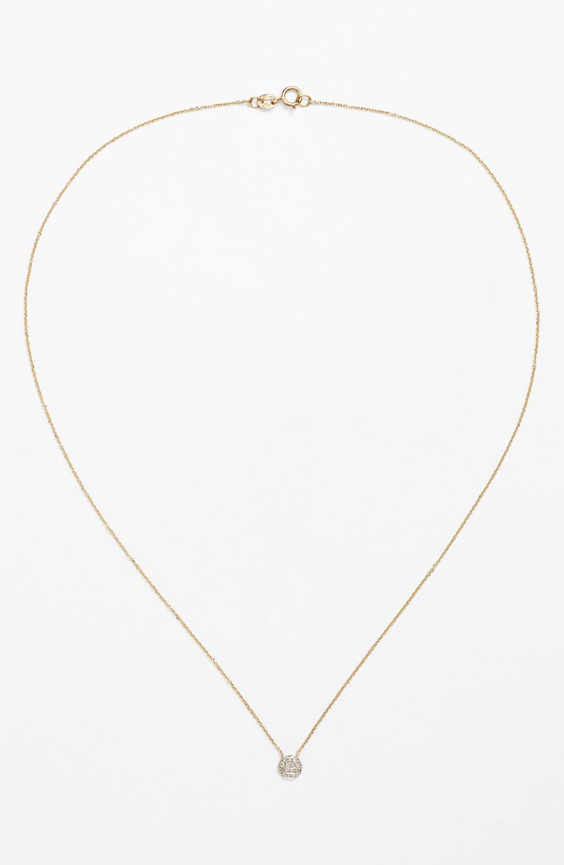 'Lauren Joy' Diamond Disc Pendant Necklace,                             Alternate thumbnail 6, color,                             YELLOW GOLD