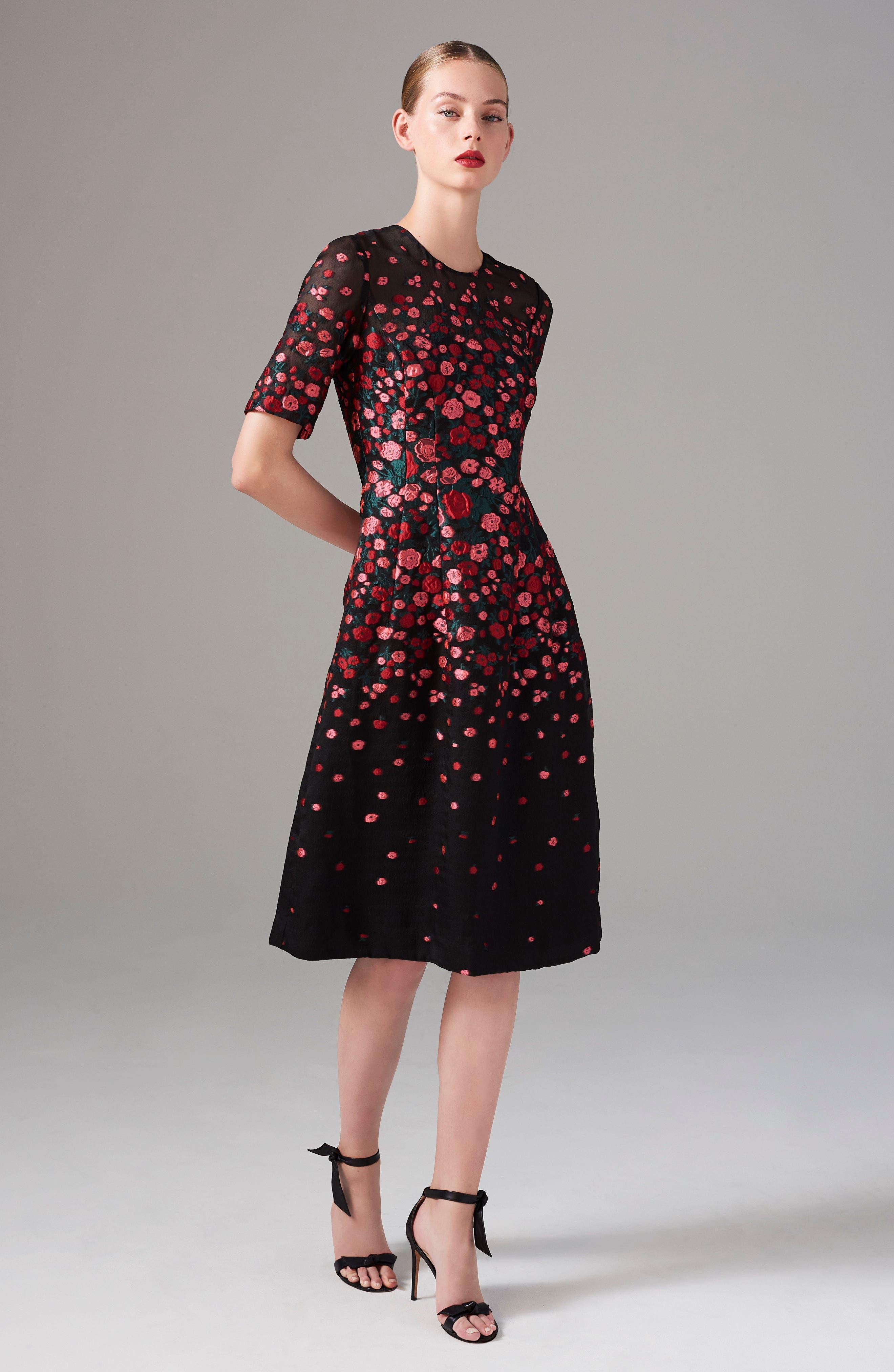 Floral Print Fit & Flare Dress,                             Alternate thumbnail 8, color,                             621