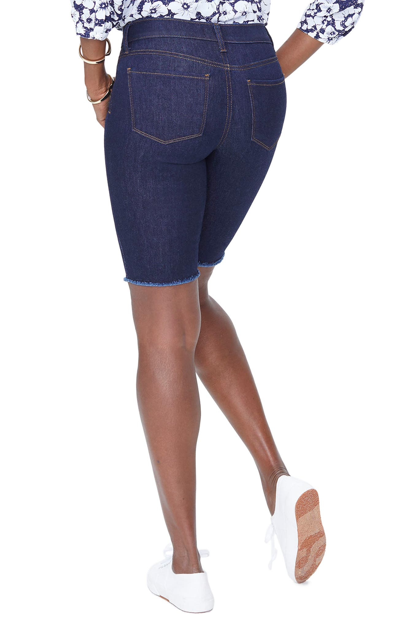 Briella Fray Hem Denim Bermuda Shorts,                             Alternate thumbnail 2, color,                             408