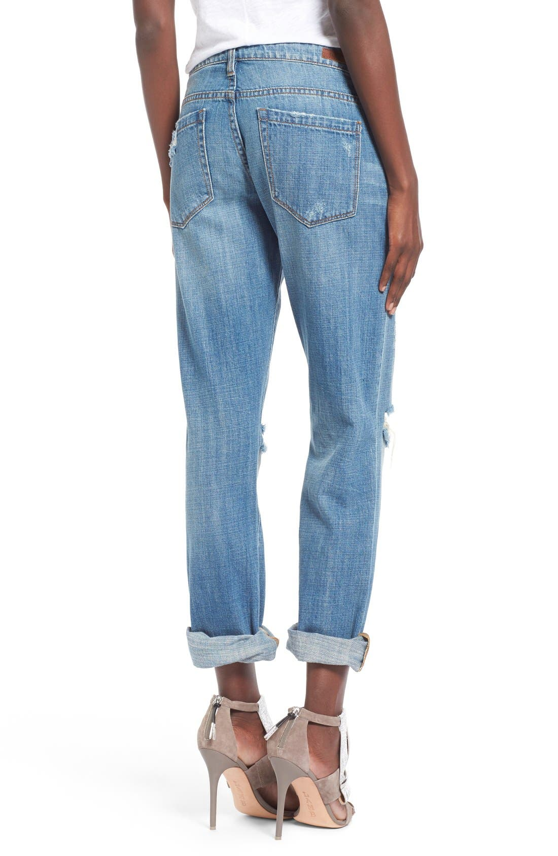 'Meant to Be' High Rise Distressed Boyfriend Jeans,                             Alternate thumbnail 3, color,                             400