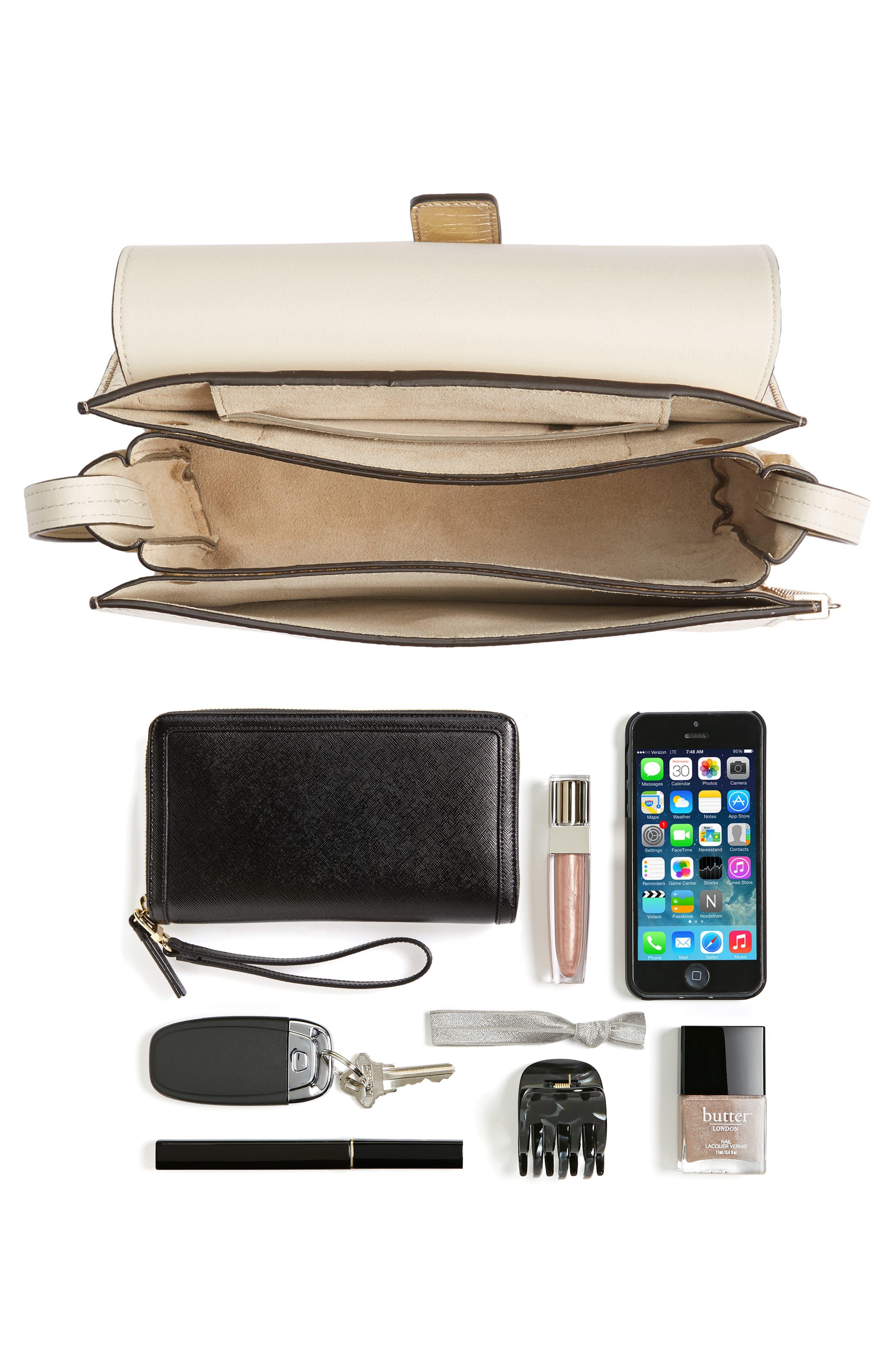 Small Faye Metallic Leather Shoulder Bag,                             Alternate thumbnail 7, color,                             GOLD
