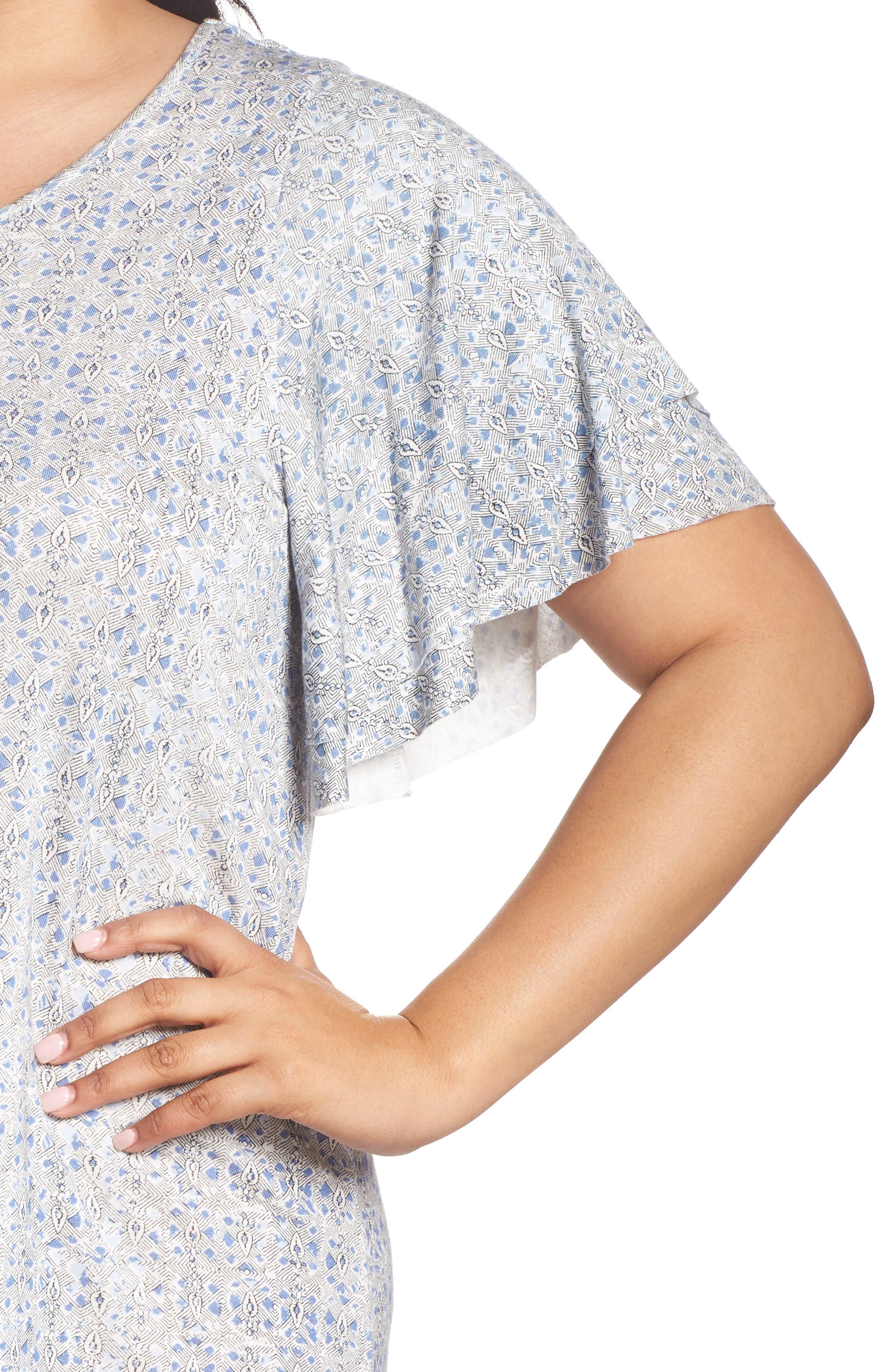 Ruffle Sleeve Print Shift Dress,                             Alternate thumbnail 4, color,                             460