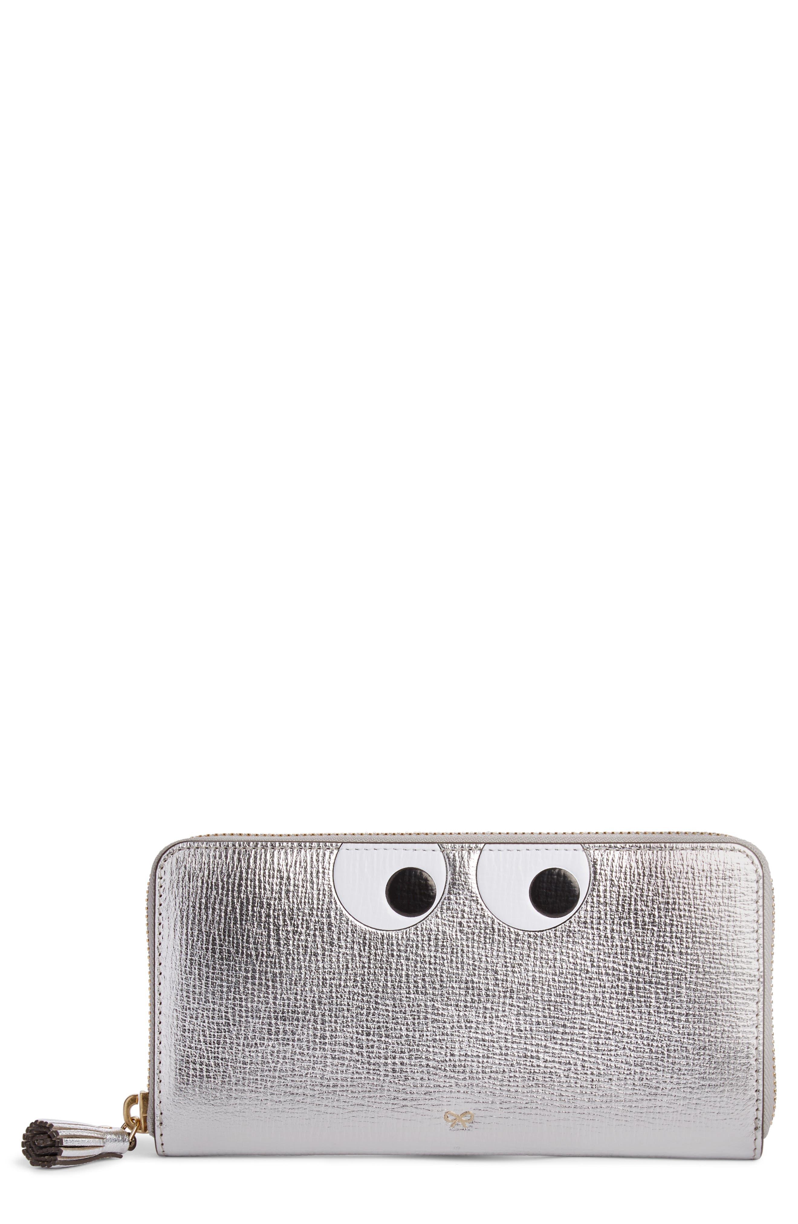 Eyes Large Metallic Leather Zip Around Wallet,                             Main thumbnail 1, color,                             SILVER