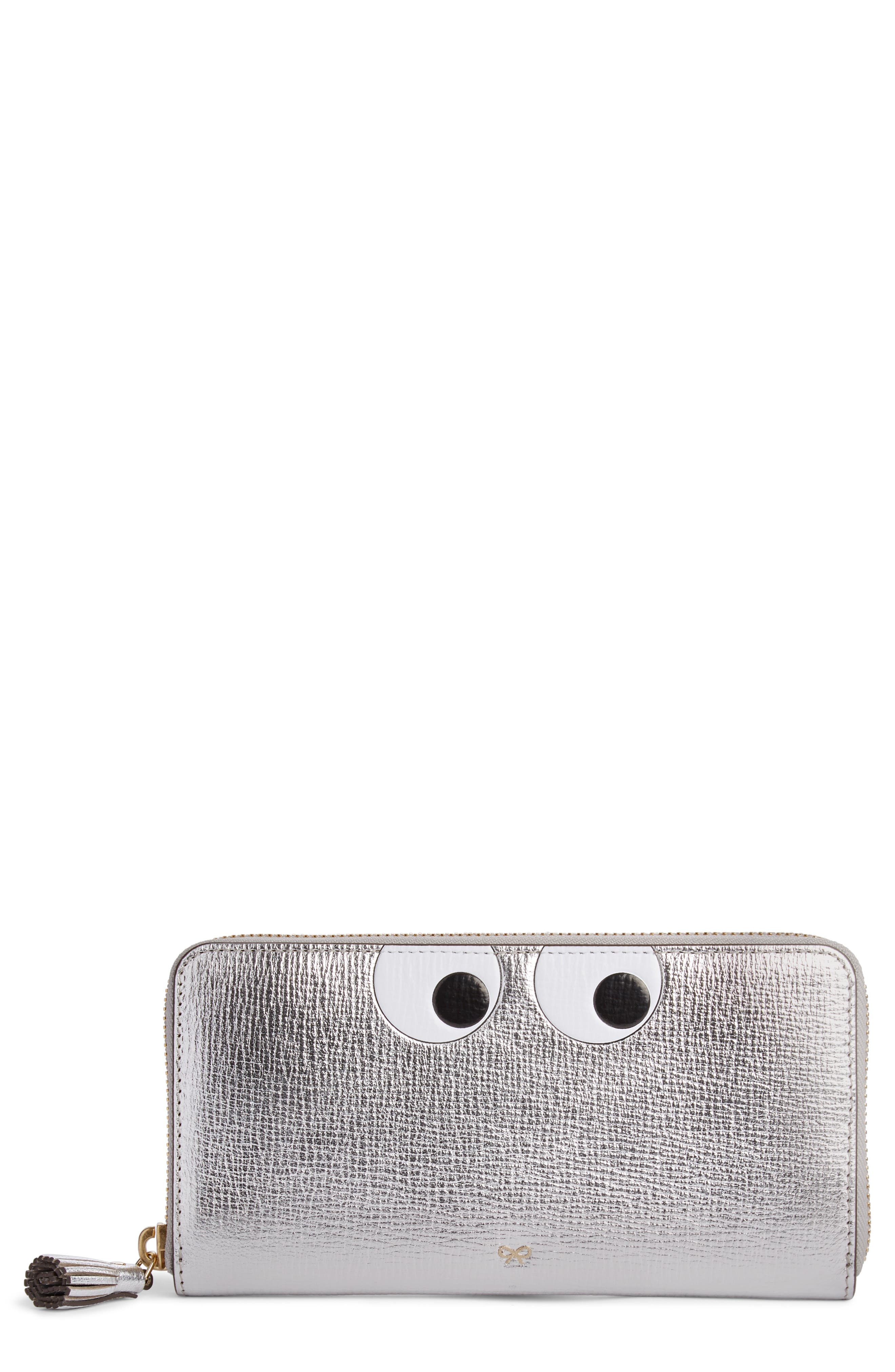 Eyes Large Metallic Leather Zip Around Wallet,                         Main,                         color, SILVER