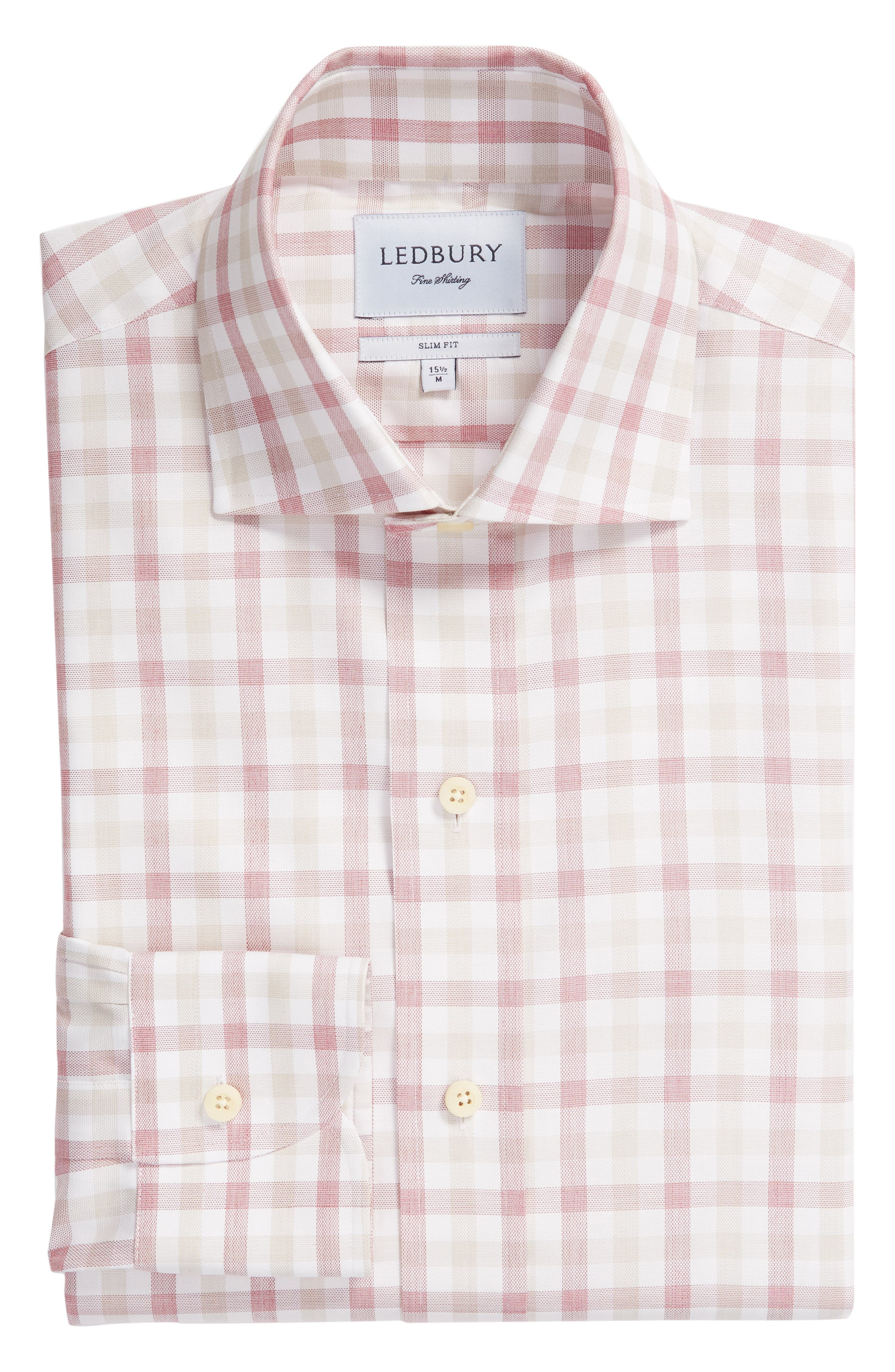 Corbly Trim Fit Check Dress Shirt,                             Alternate thumbnail 5, color,                             RED
