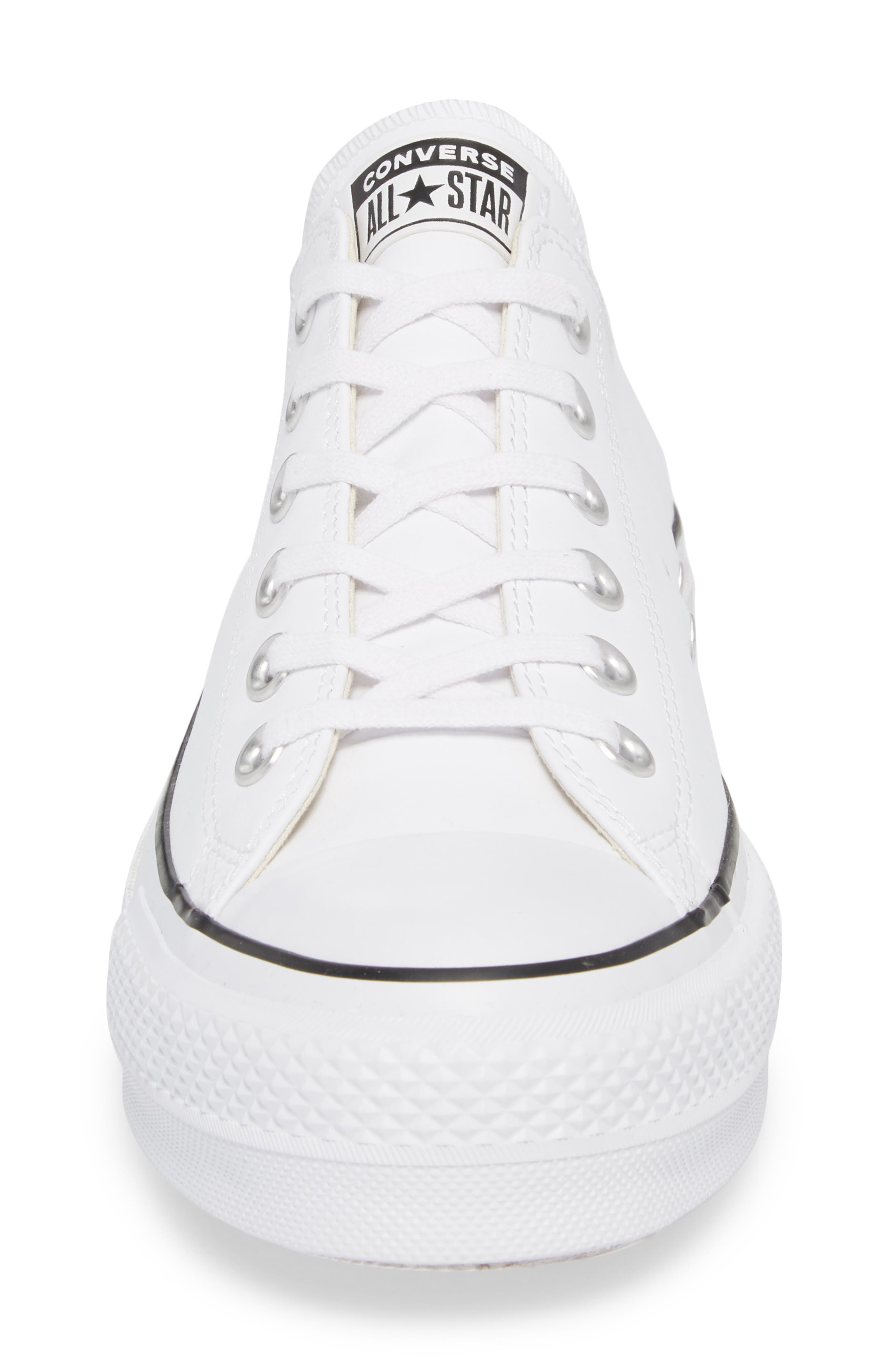 Chuck Taylor<sup>®</sup> All Star<sup>®</sup> Platform Sneaker,                             Alternate thumbnail 4, color,                             WHITE LEATHER