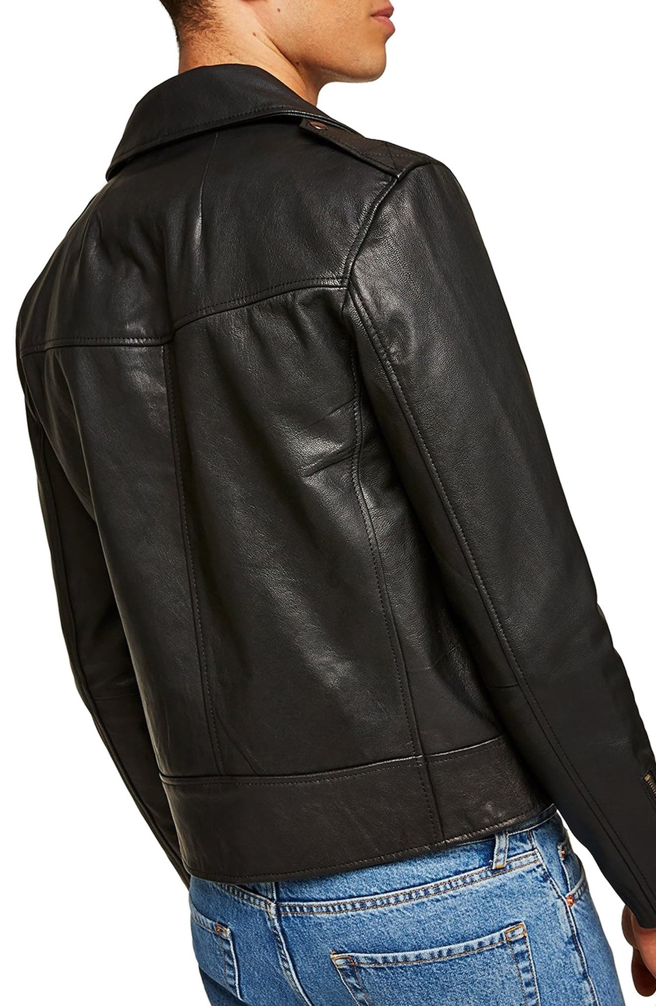 Classic Fit Leather Biker Jacket,                             Alternate thumbnail 2, color,                             BLACK
