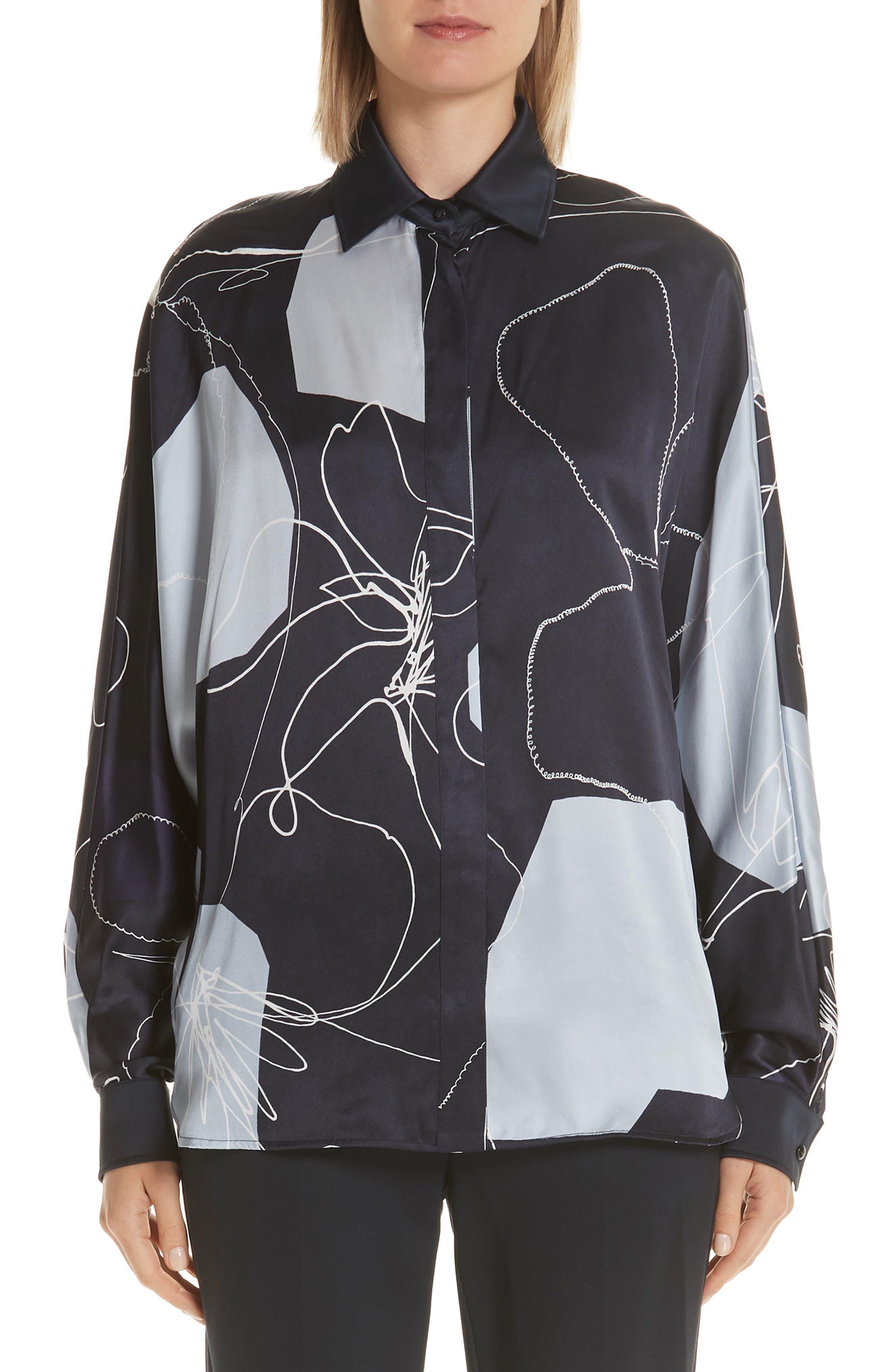 Renna Abstract-Print Silk Button-Front Blouse in Ultramarine