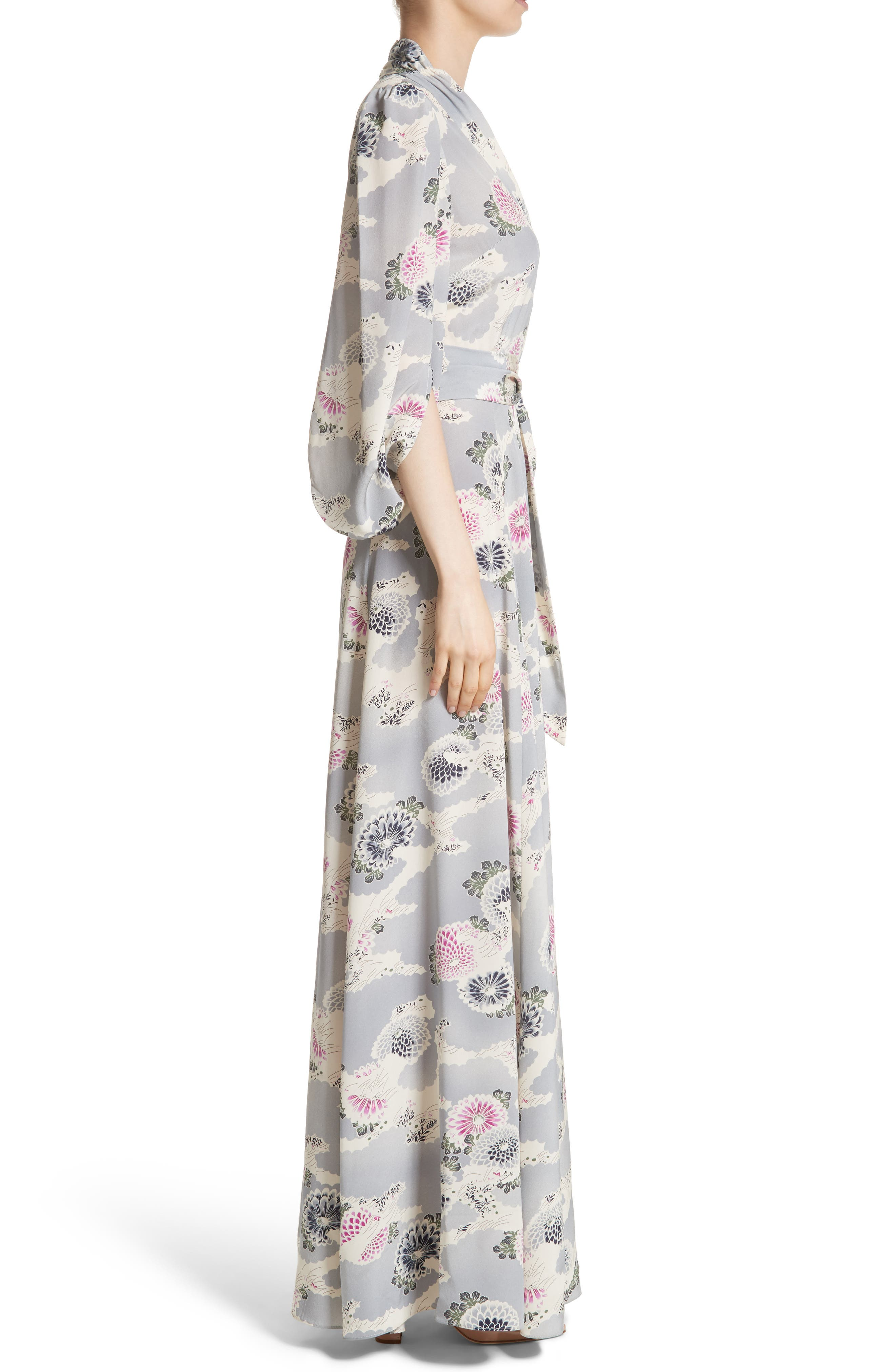 Floral Print Silk Crêpe de Chine Maxi Wrap Dress,                             Alternate thumbnail 3, color,                             020