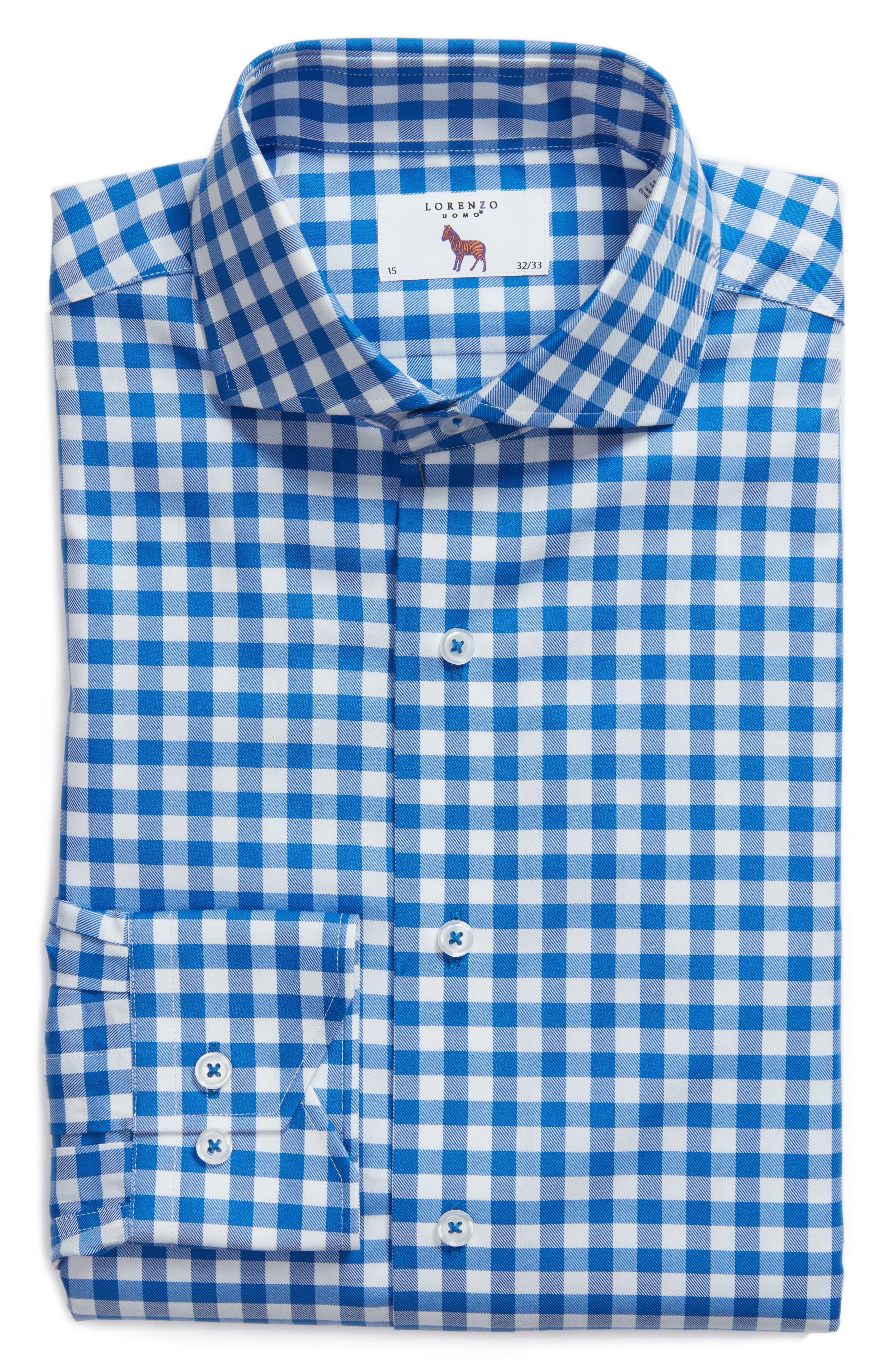 Trim Fit Gingham Dress Shirt,                             Alternate thumbnail 5, color,                             BLUE