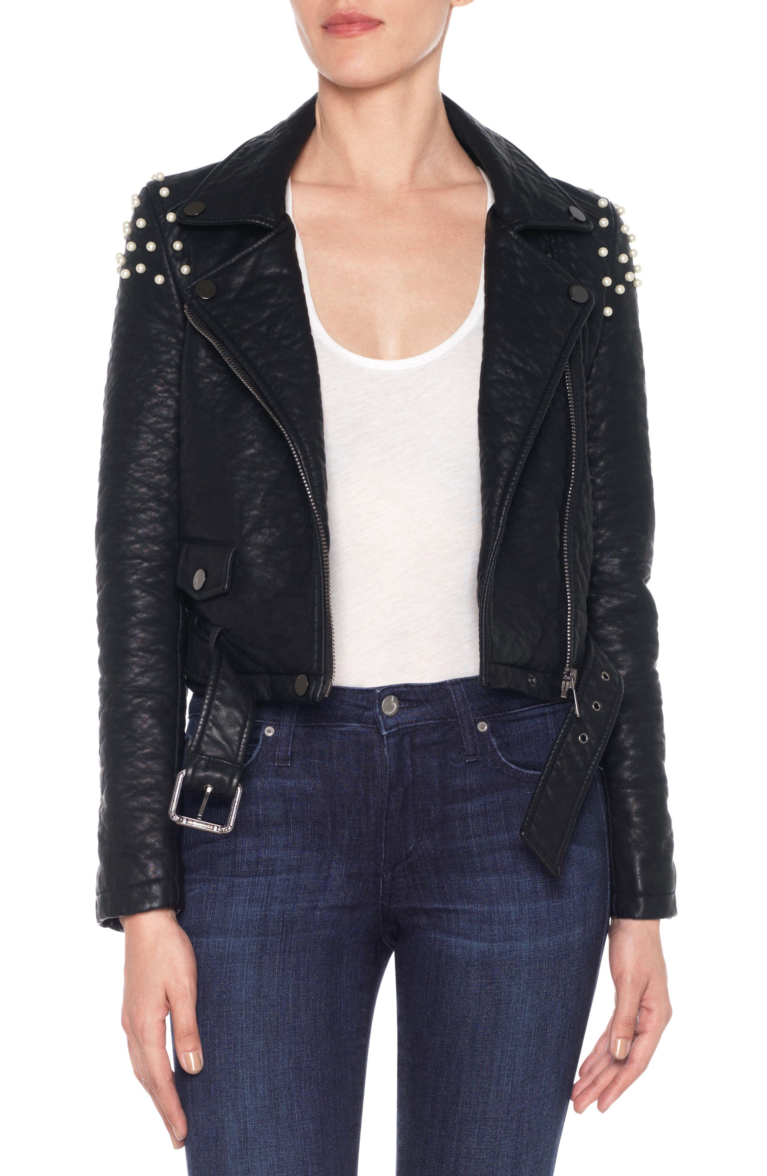 Taylor Embellished Faux Leather Moto Jacket,                         Main,                         color, 011